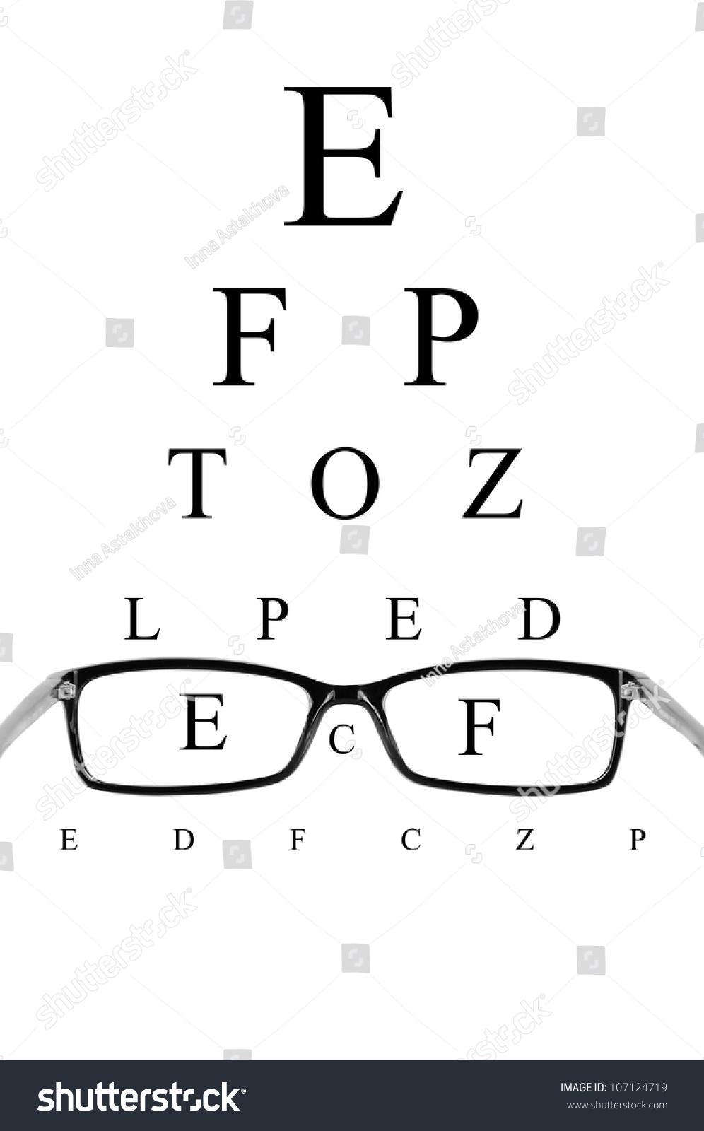 Reading Eyeglasses Eye Chart Stock Photo Edit Now 107124719