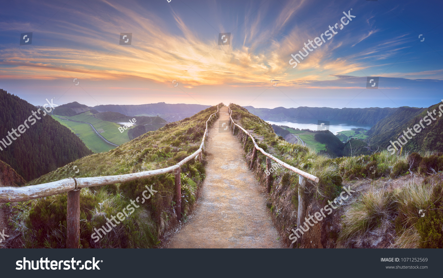 Mountain landscape with hiking trail and view of beautiful lakes Ponta Delgada, Sao Miguel Island, Azores, Portugal. #1071252569