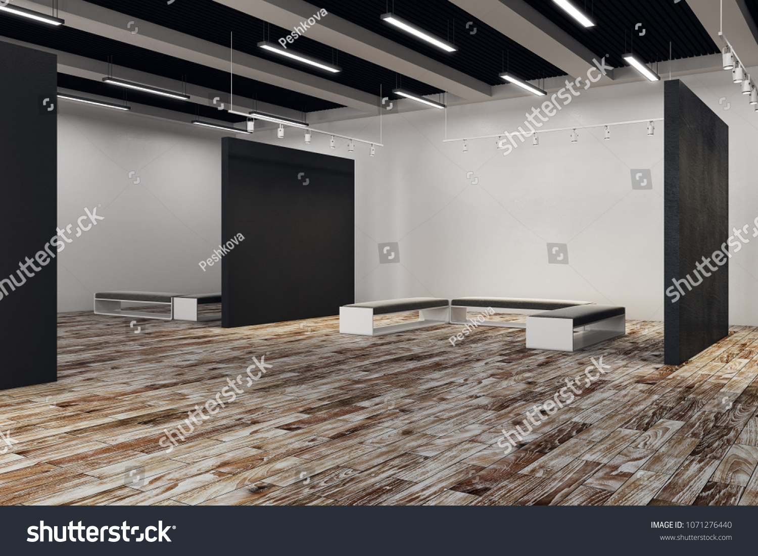 Exhibition Hall Copy Space On Wall Stock Illustration - Royalty Free