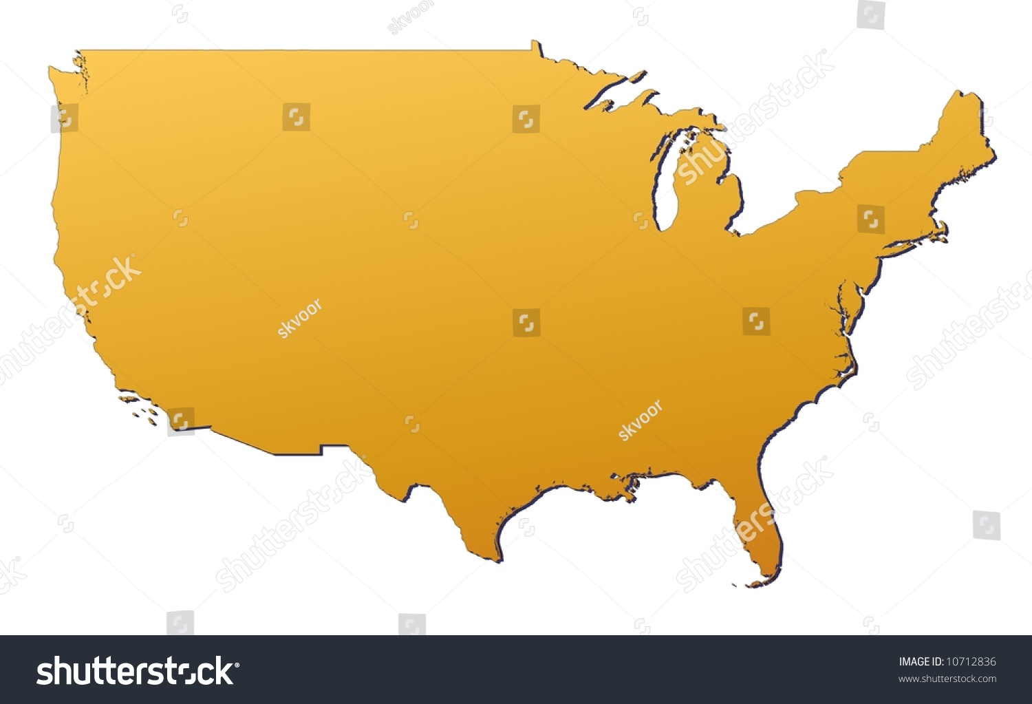united states map filled with orange gradient mercator projection