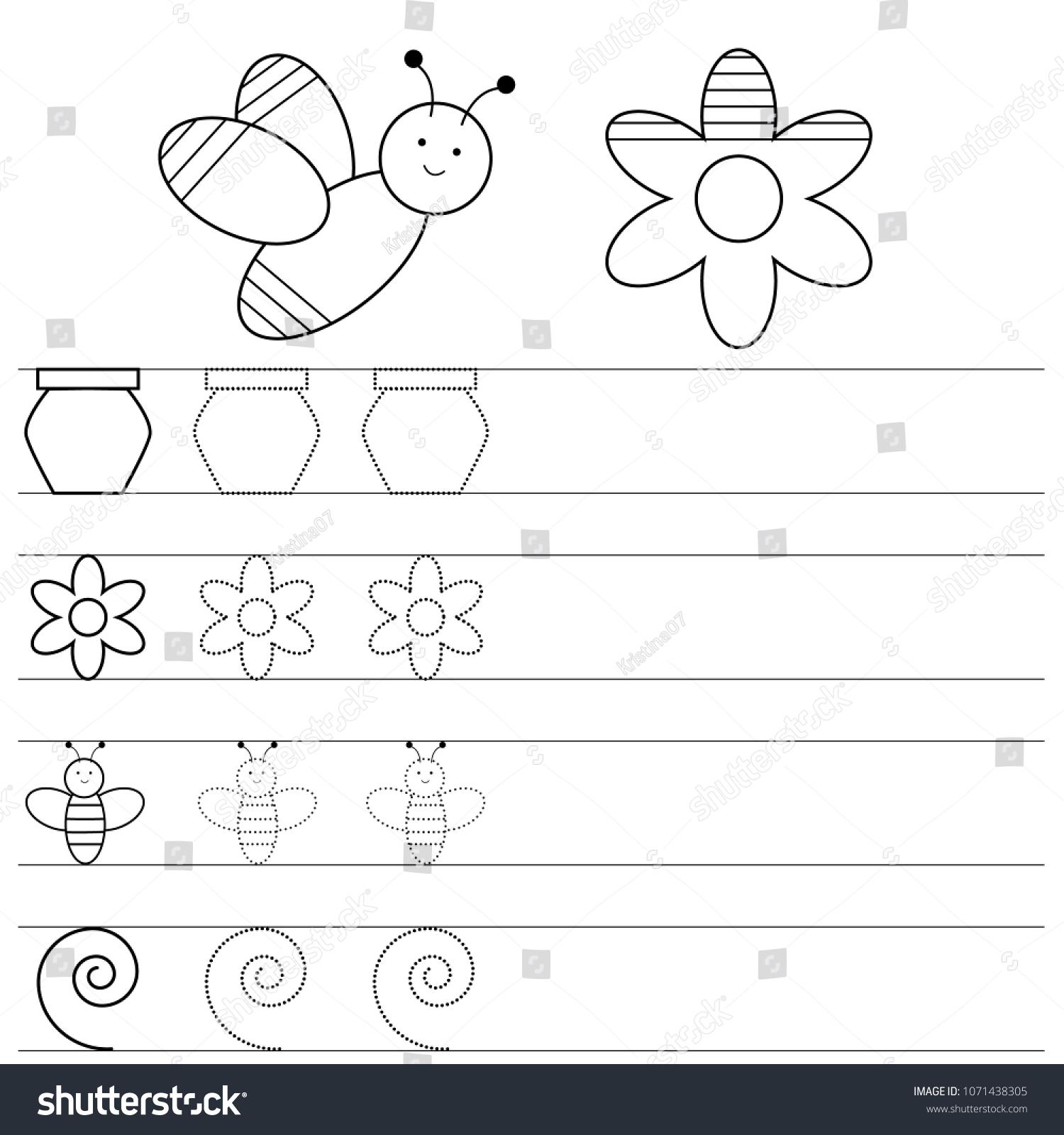 Worksheet Preschool Kids Handwriting Practice Writing Stock Vector