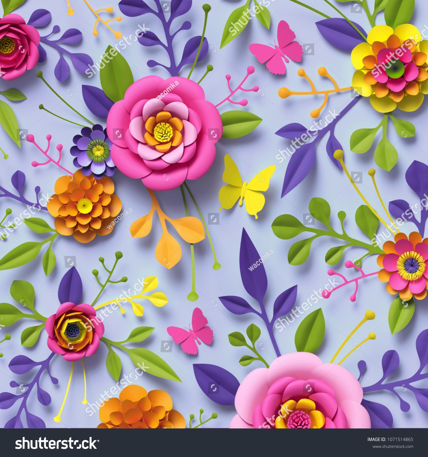 3 d render craft paper flowers festive stock illustration 1071514865 3d render craft paper flowers festive floral bouquet botanical arrangement bright candy izmirmasajfo