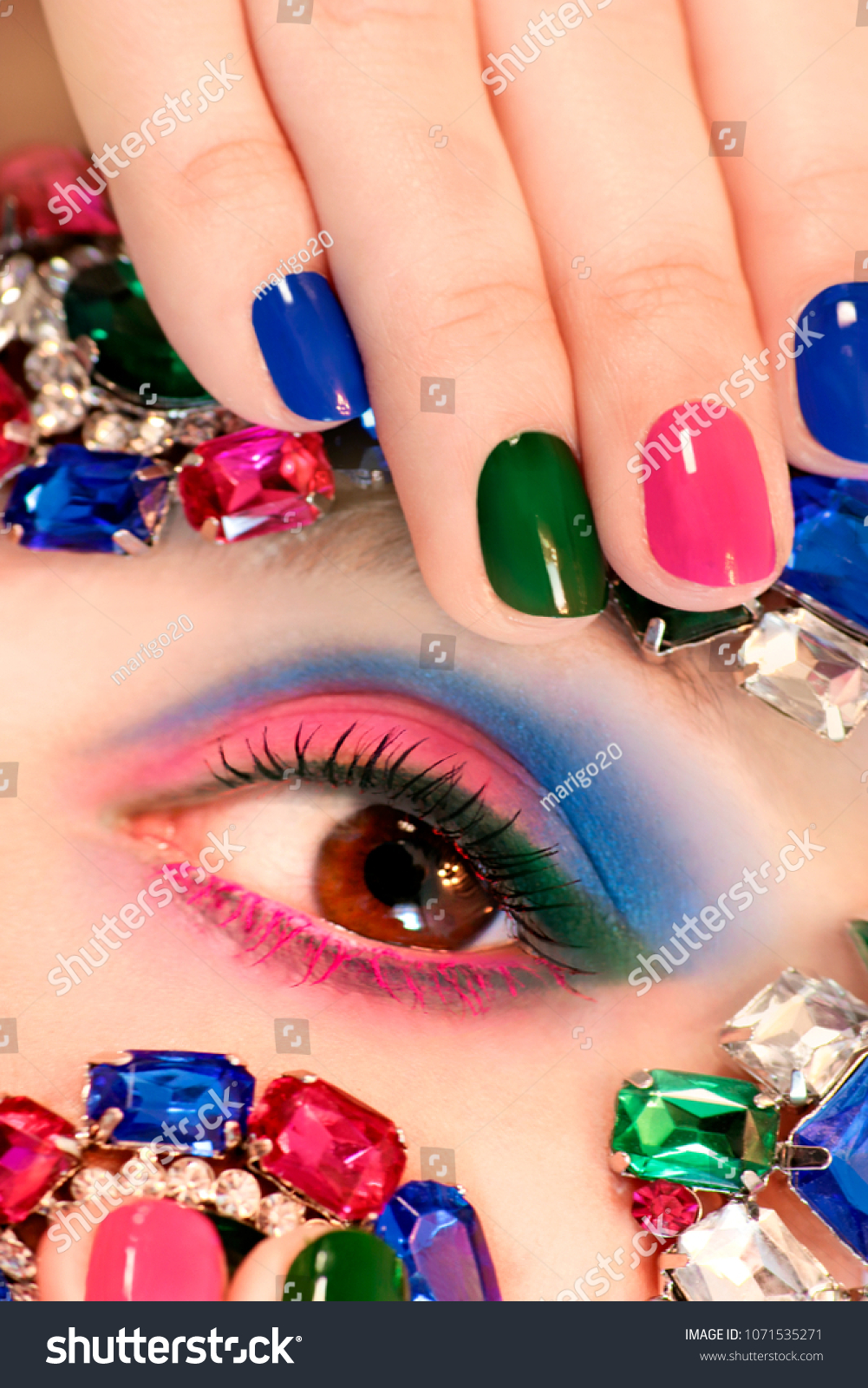 Fashionable Colorful Short Nail Art Design Stock Photo (Royalty Free ...