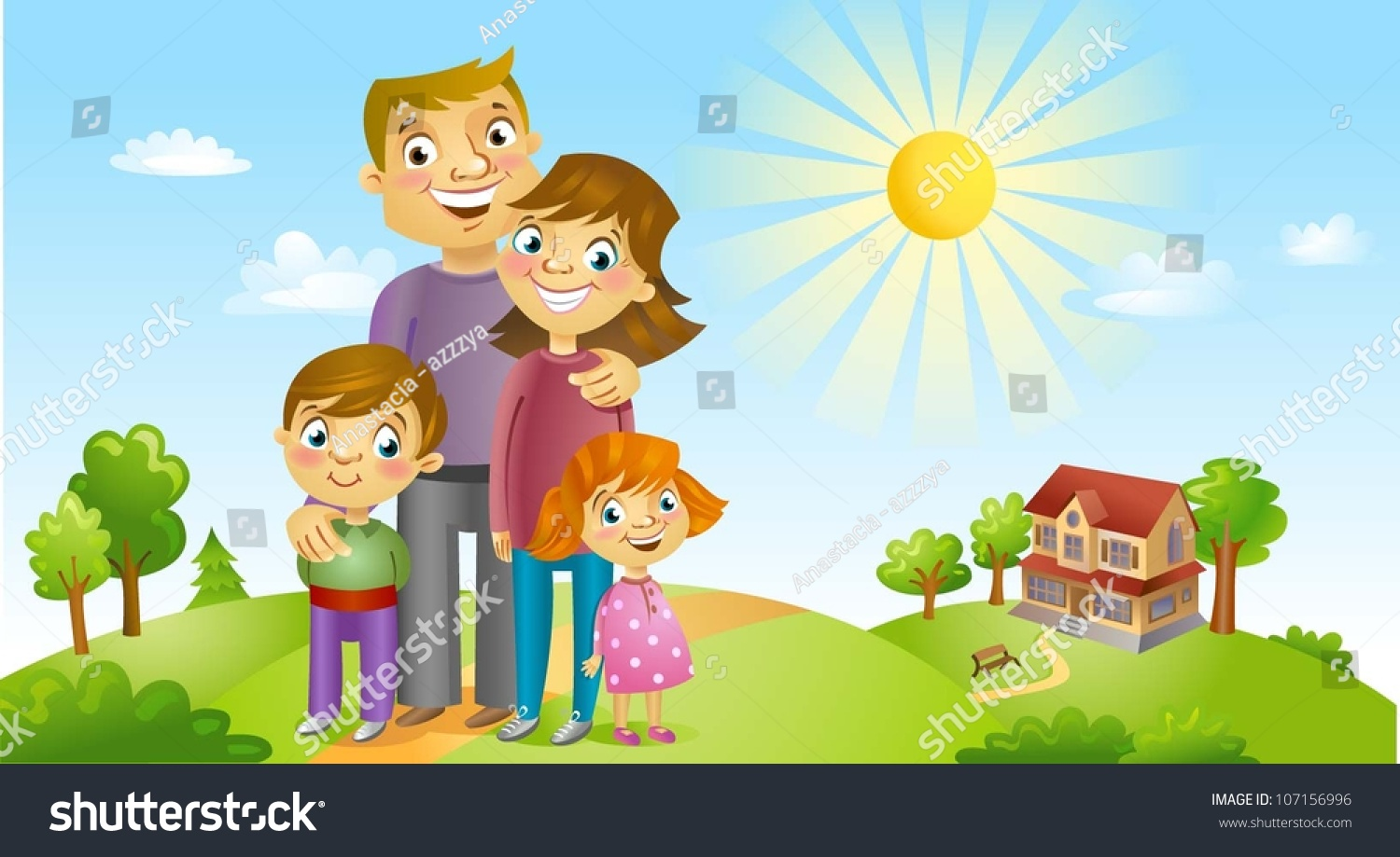 Happy Family Against Landscape House Stock Vector ...