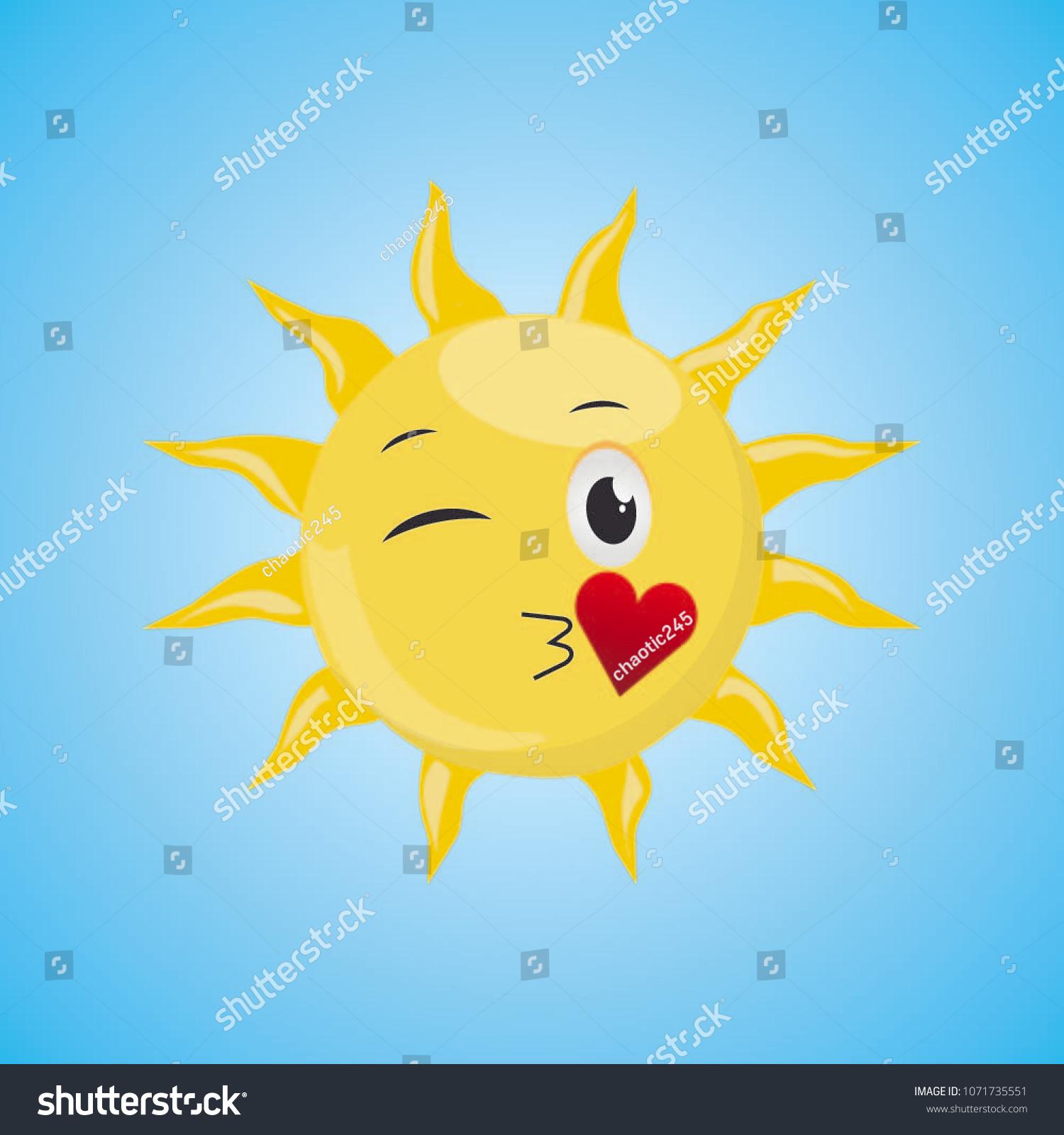 Yellow Cartoon Symbol Sun Sending Air Stock Vector Royalty Free