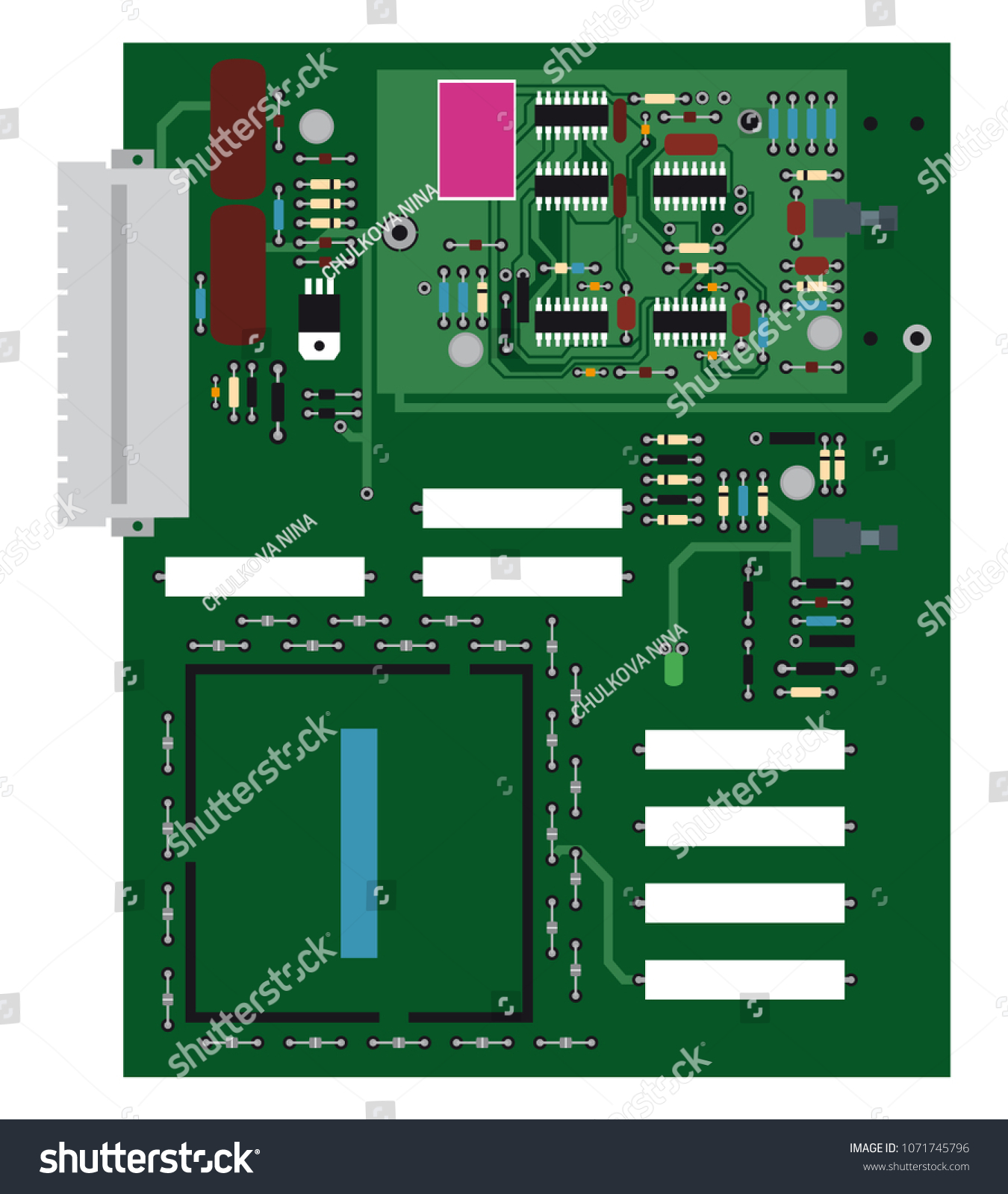 Electric Circuit Board On White Background Stock Vector Royalty With Components Free Photos Image