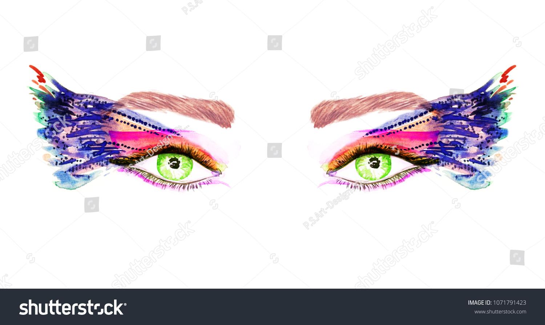 Green Eyes Makeup Orange Pink Blue Stock Illustration Royalty Free