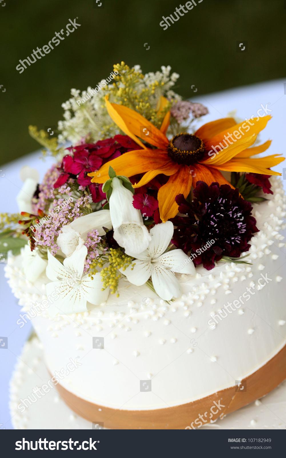 White Wedding Cake Fresh Flowers Stock Photo Safe To Use 107182949