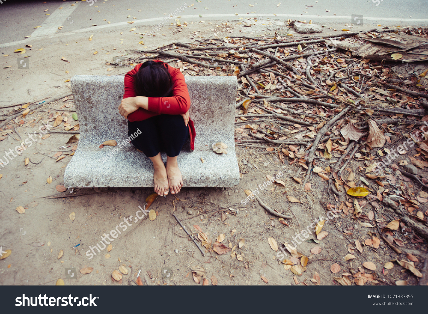 Unhappy Lonely Depressed Woman Contemplating Suicide Stock Photo Edit Now 1071837395