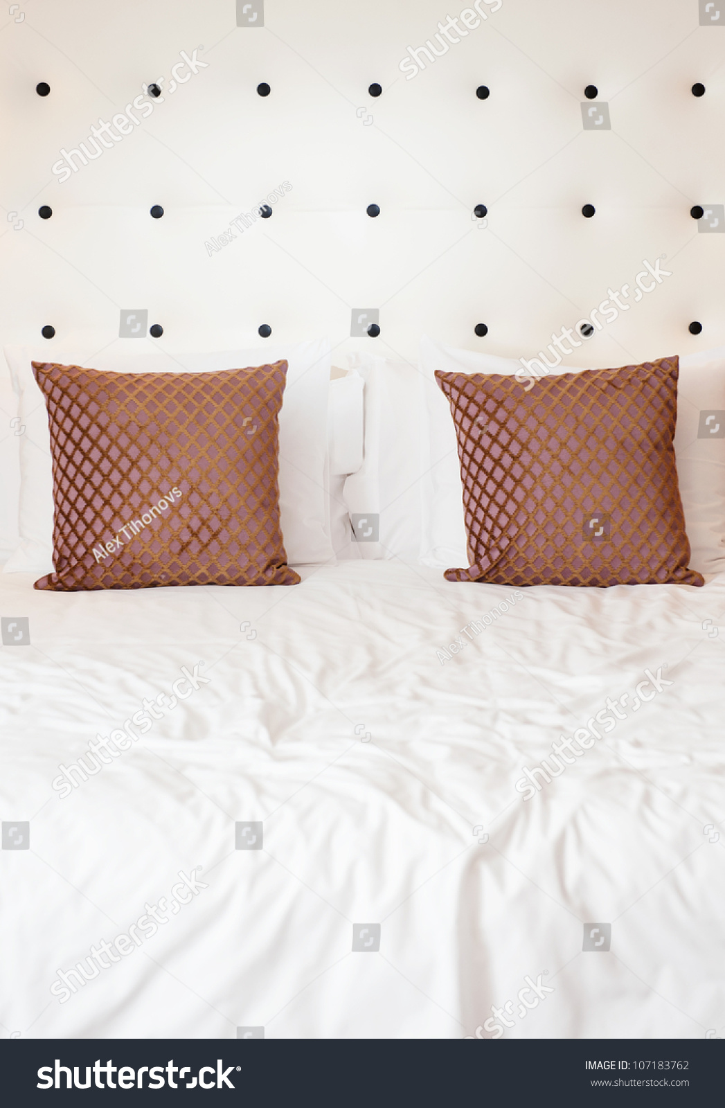 Two Brown Decorative Cushions White Pillows Stock Photo Edit Now 107183762