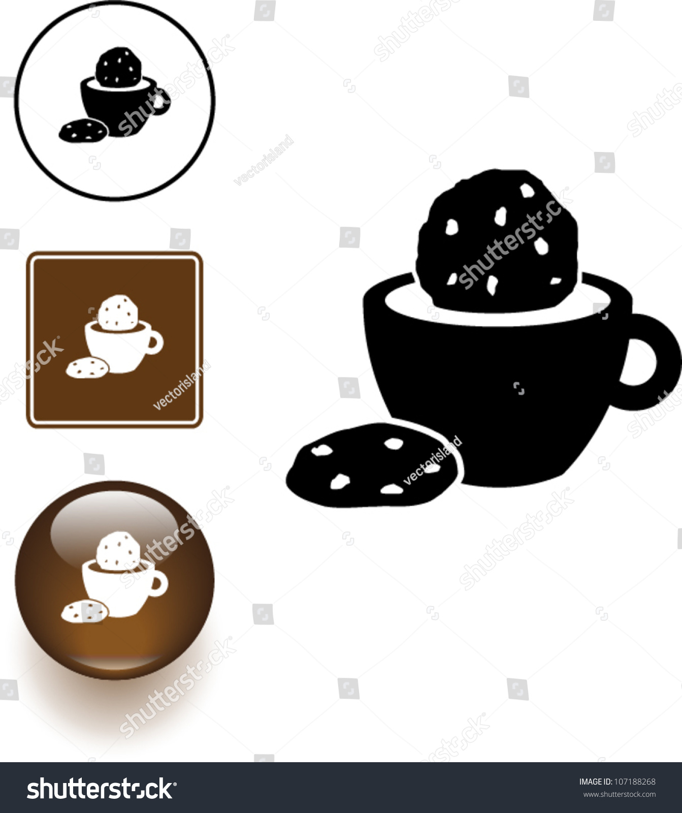 coffee or chocolate and cookies symbol sign and button