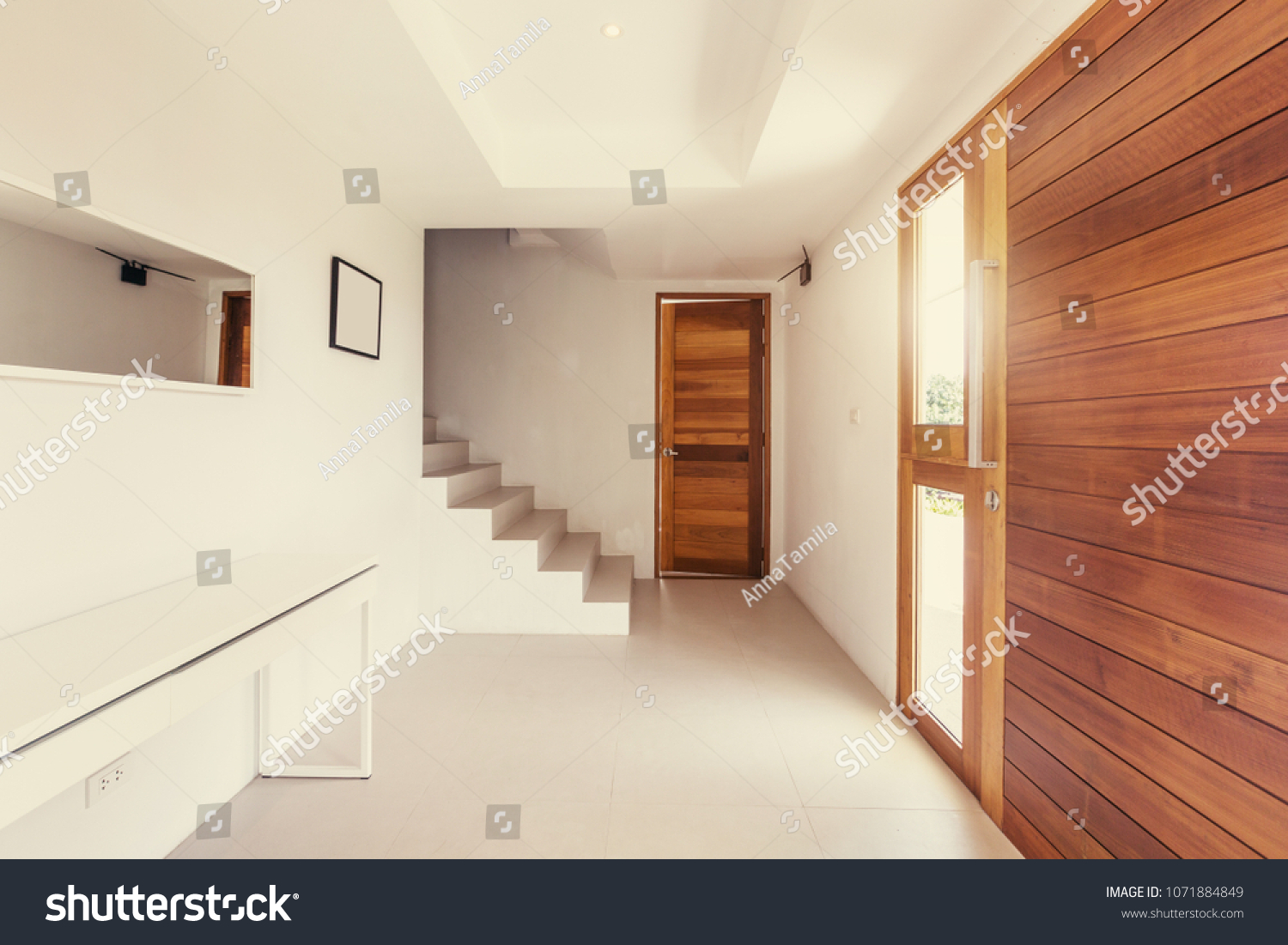 Hallway modern interior wood white color stock photo edit now