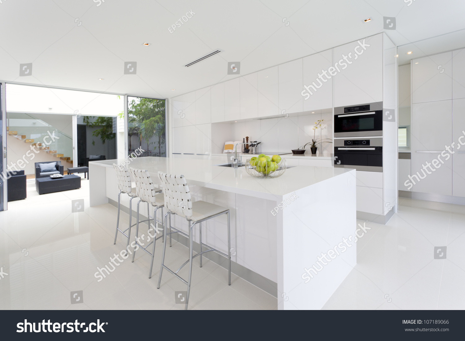 Luxurious Kitchen With Stainless Steel Appliances In