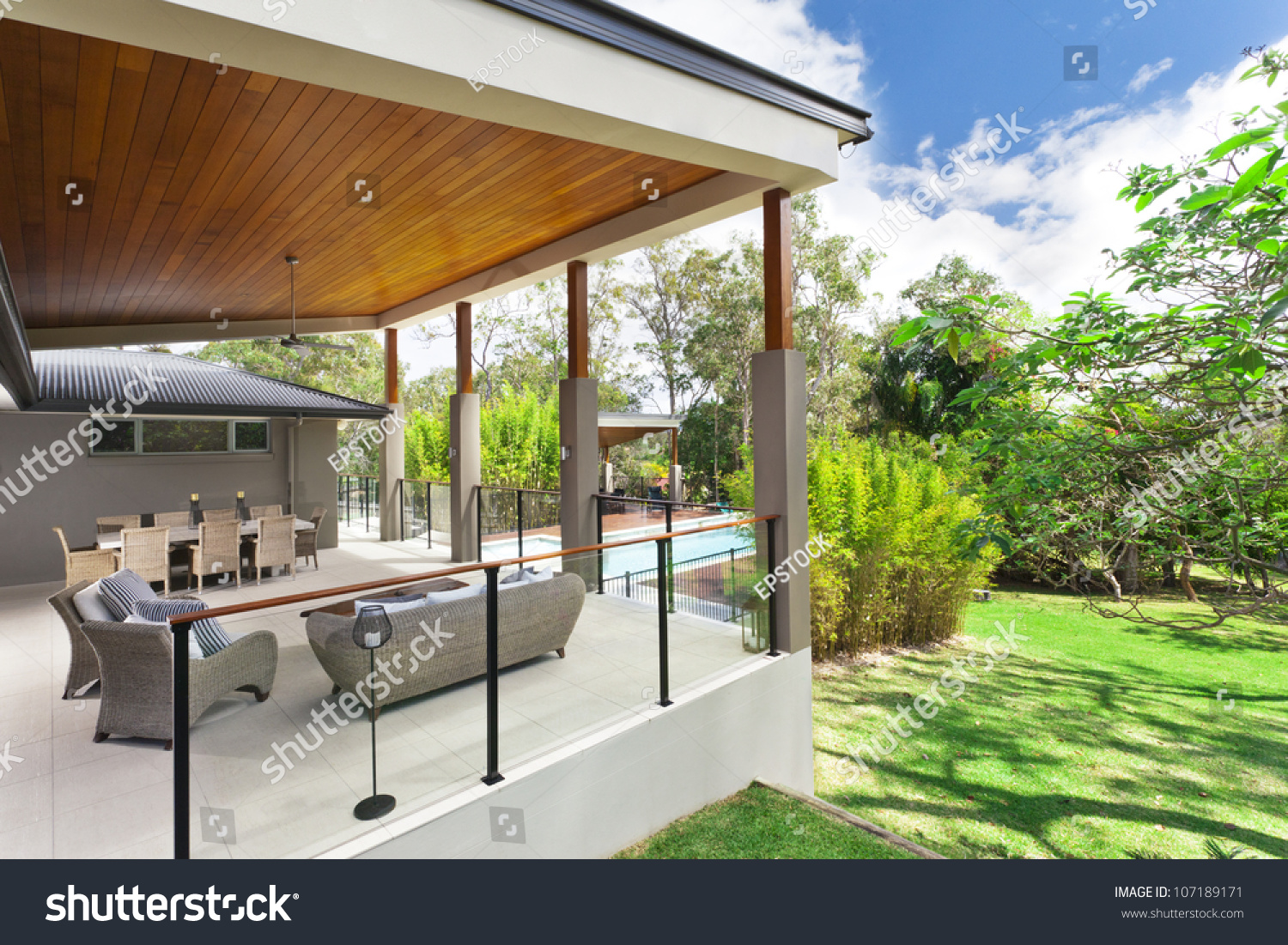 modern backyard entertaining area stylish australian stock photo