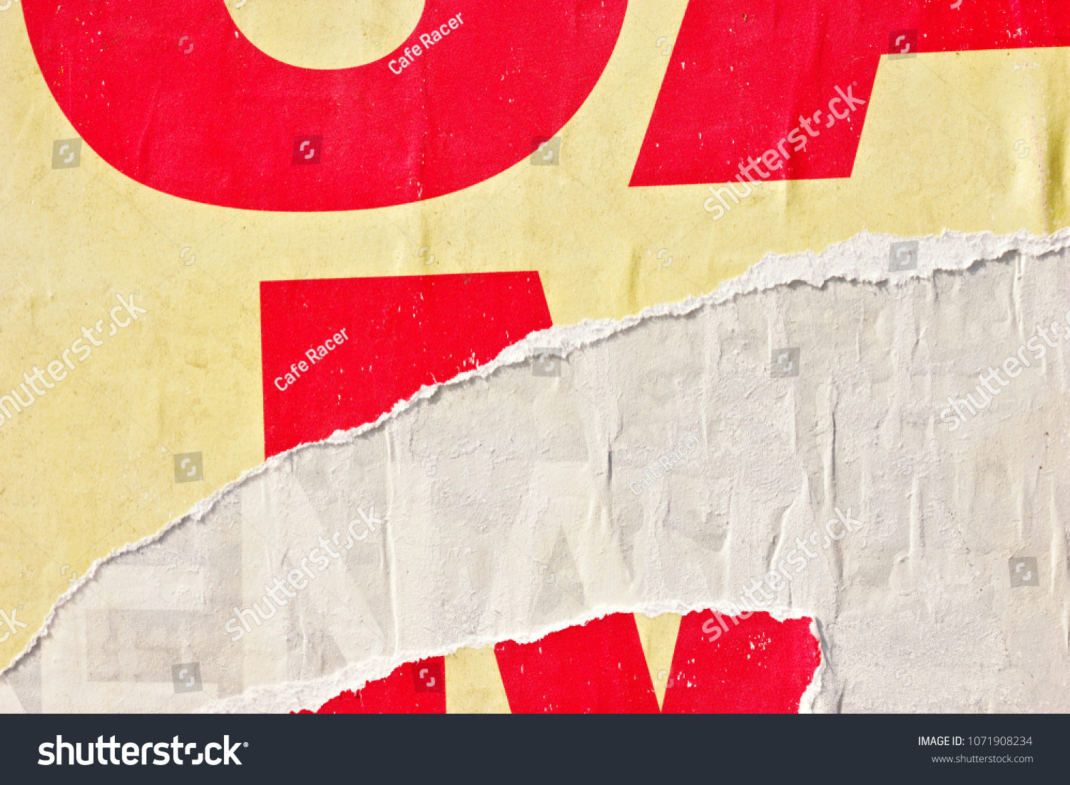 Old vintage ripped torn posters grunge texture background creased crumpled paper backdrop placard surface #1071908234