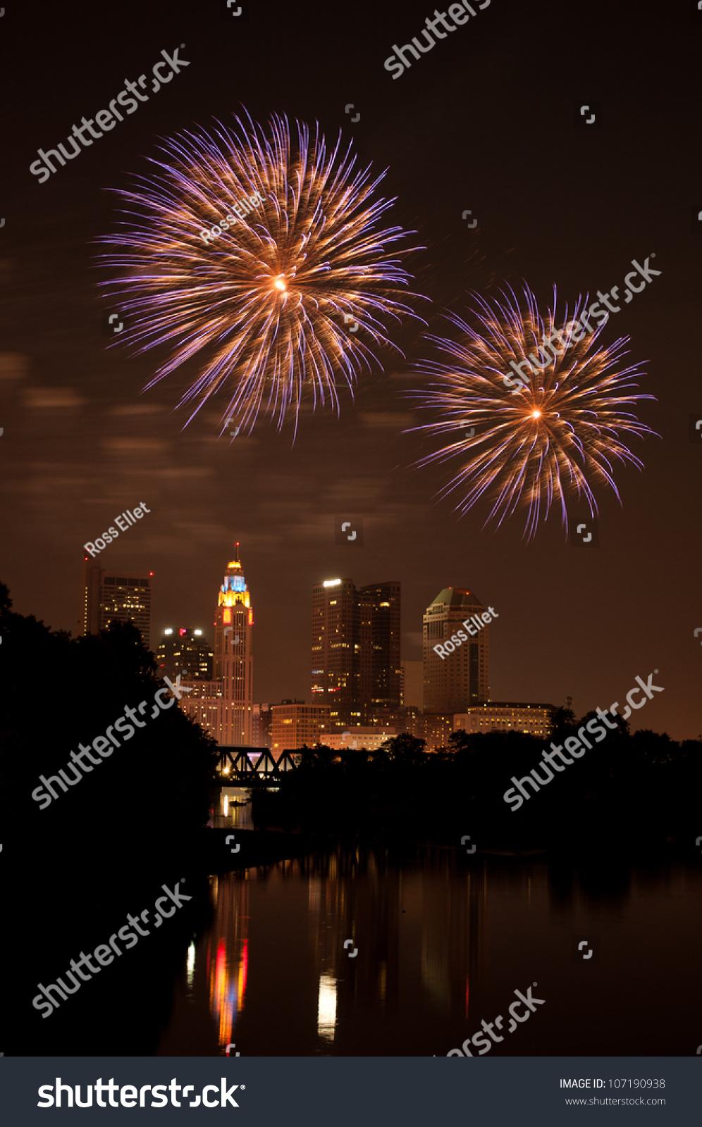 Downtown Fireworks Display Columbus Ohio Fireworks Stock