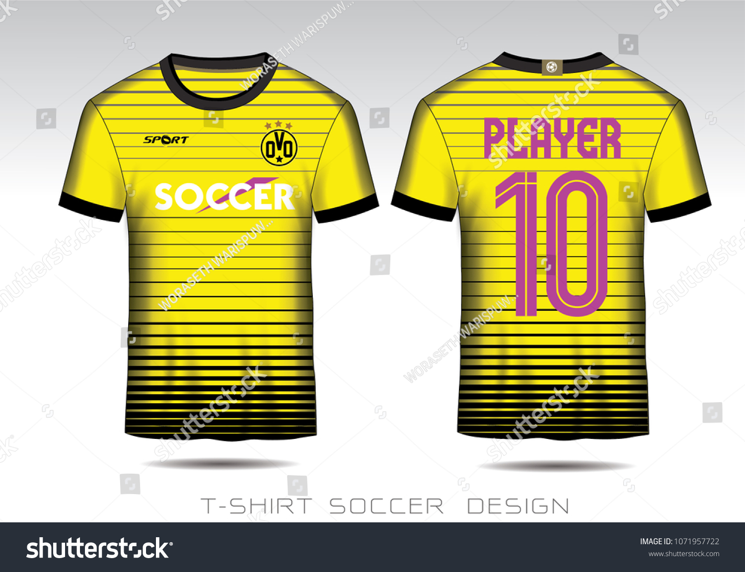 20a8f7119a2 Yellow Black Layout Football Sport Tshirt Stock Vector (Royalty Free ...