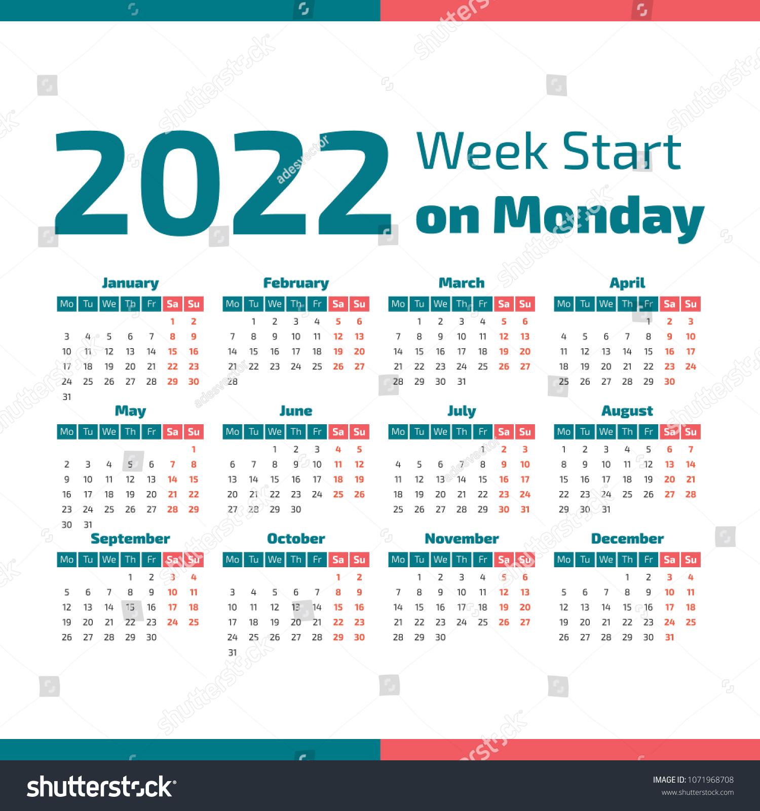 Calendar Week 2022.Simple 2022 Year Calendar Week Starts Stock Vector Royalty Free 1071968708