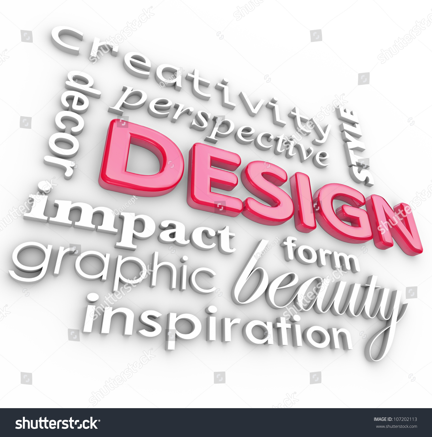 The Word Design And Related Words In A Collage Representing Creativity Beauty Inspiration