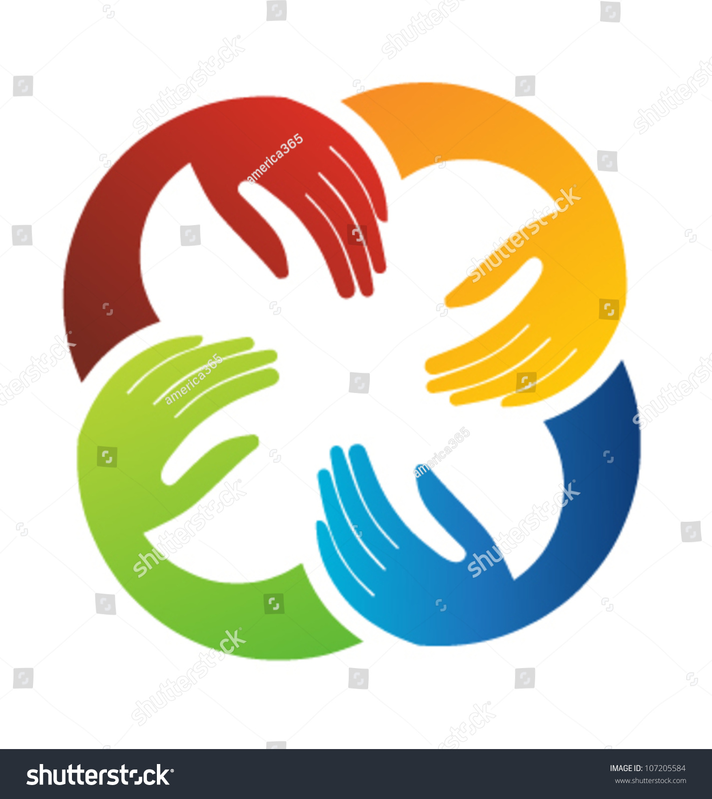 Vector Teamwork Hands Logo Template Stock Photo (Photo, Vector ...