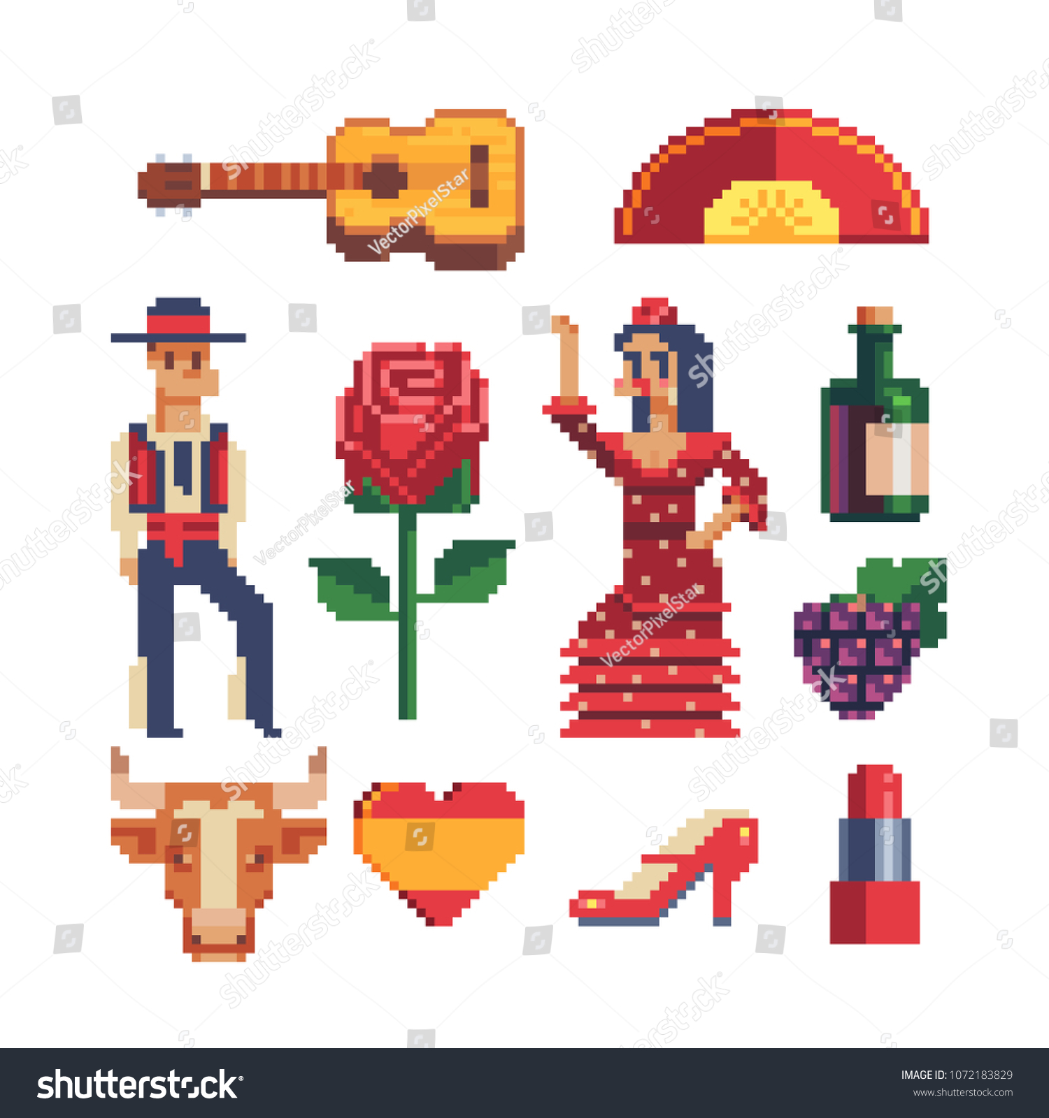 Spain Traditional Elements Pixel Art 80s Stock Vector