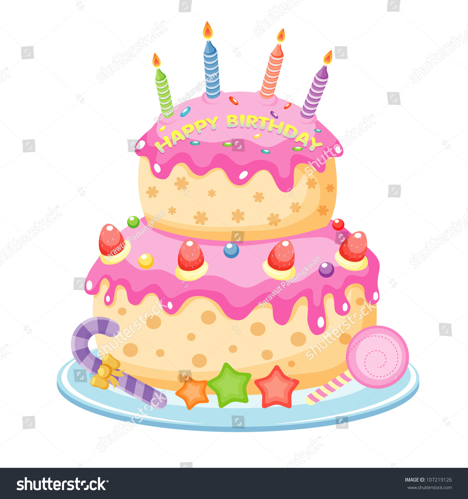 Birthday Cake Stock Vector HD Royalty Free 107219126 Shutterstock