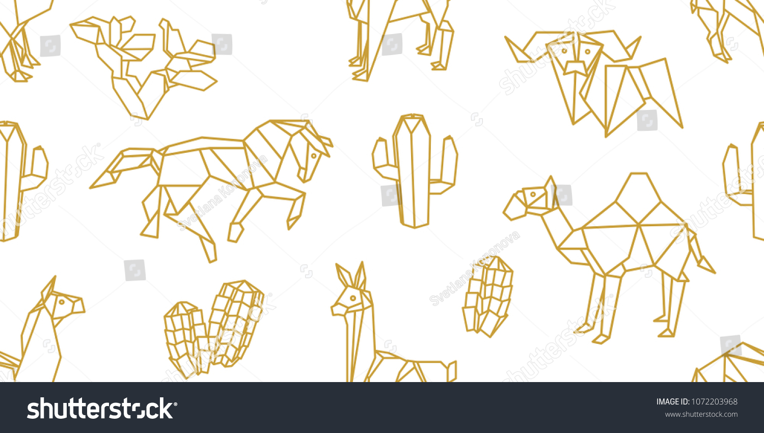 Origami Animals Seamless Vector Pattern Llamas Stock Royalty Dinosaurs Diagrams Embroidery With Camels Horses And Cucculents Minimalism