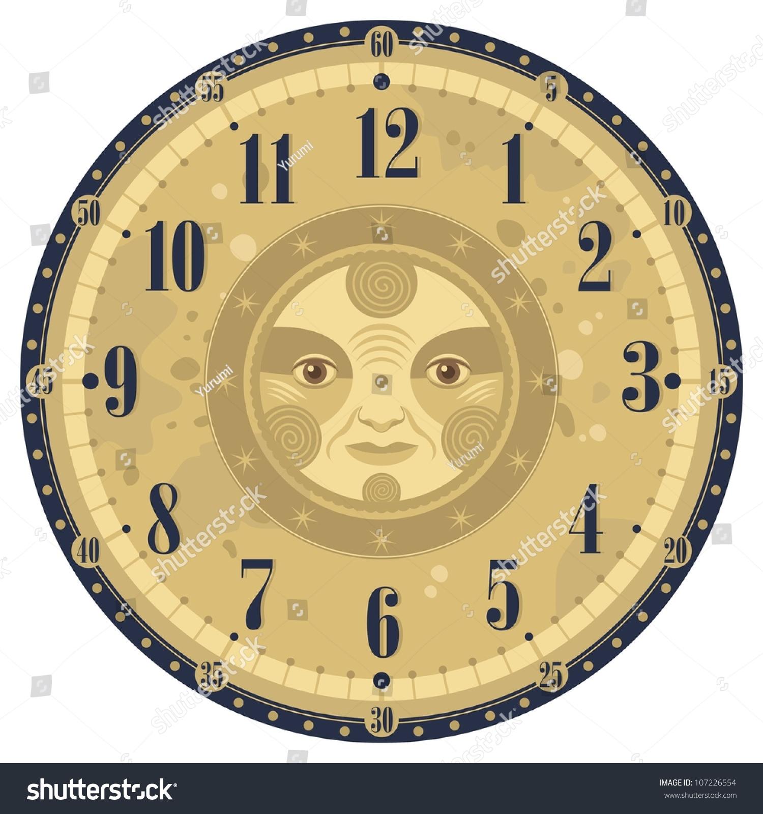 Vintage Clock Face Template Decorative Sun Illustration – Clock Face Template