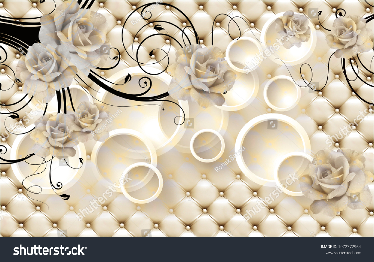 3 d flowers background circle wallpaper walls stock illustration