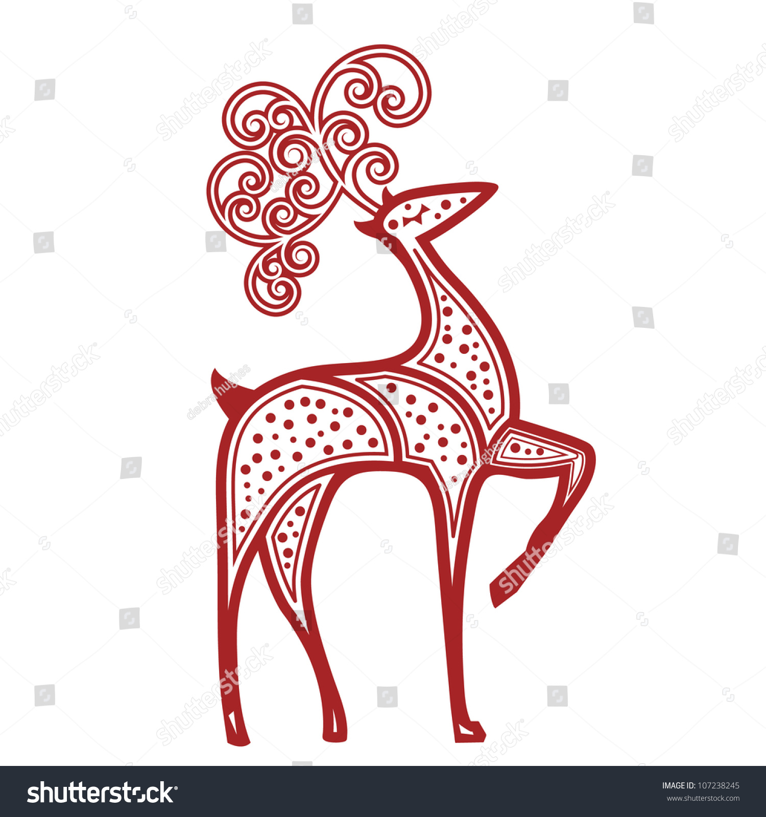 Stylized Reindeer Red Dots Stock Vector (Royalty Free) 107238245 ...