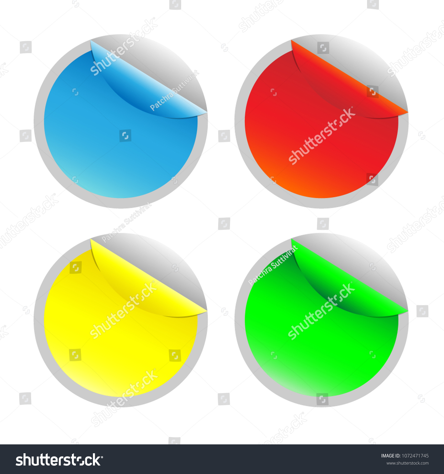 Sticker Template Circle With Curled Corner Round Advertising Design