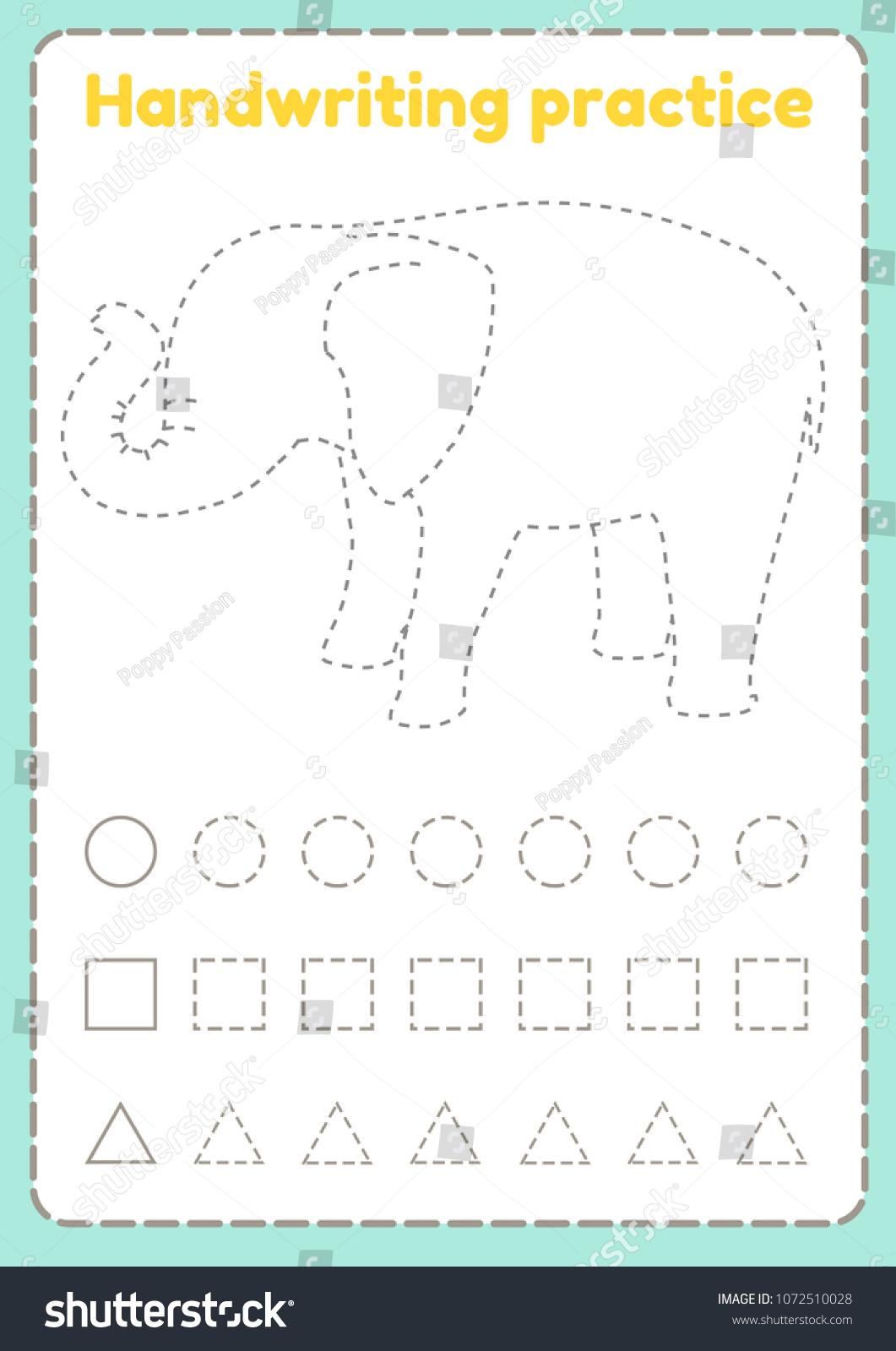 Handwriting Practice Preschool Worksheet Practicing Fine Stock