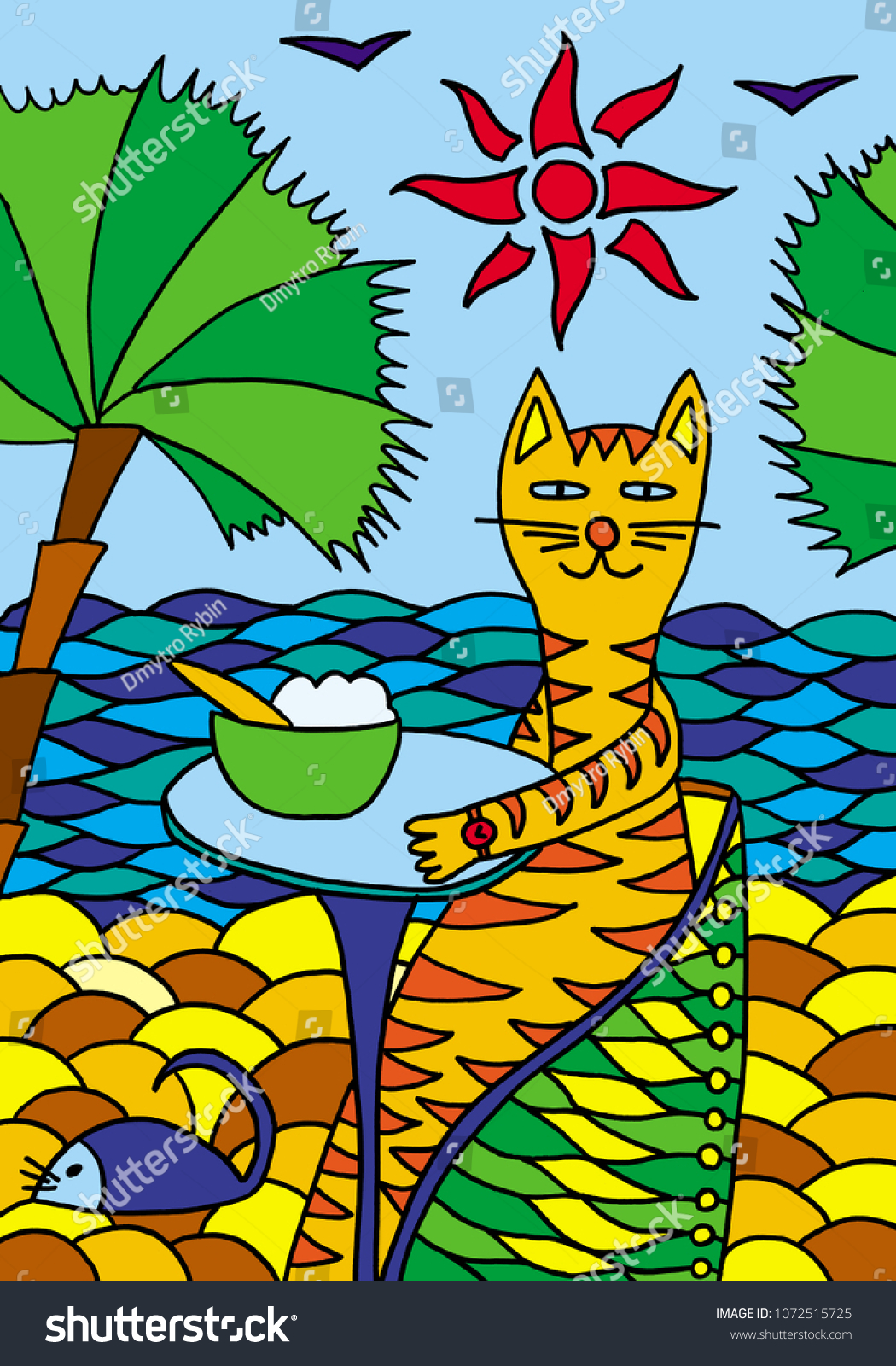 Cat On Vacation Sea Cat Cafe Stock Illustration 1072515725
