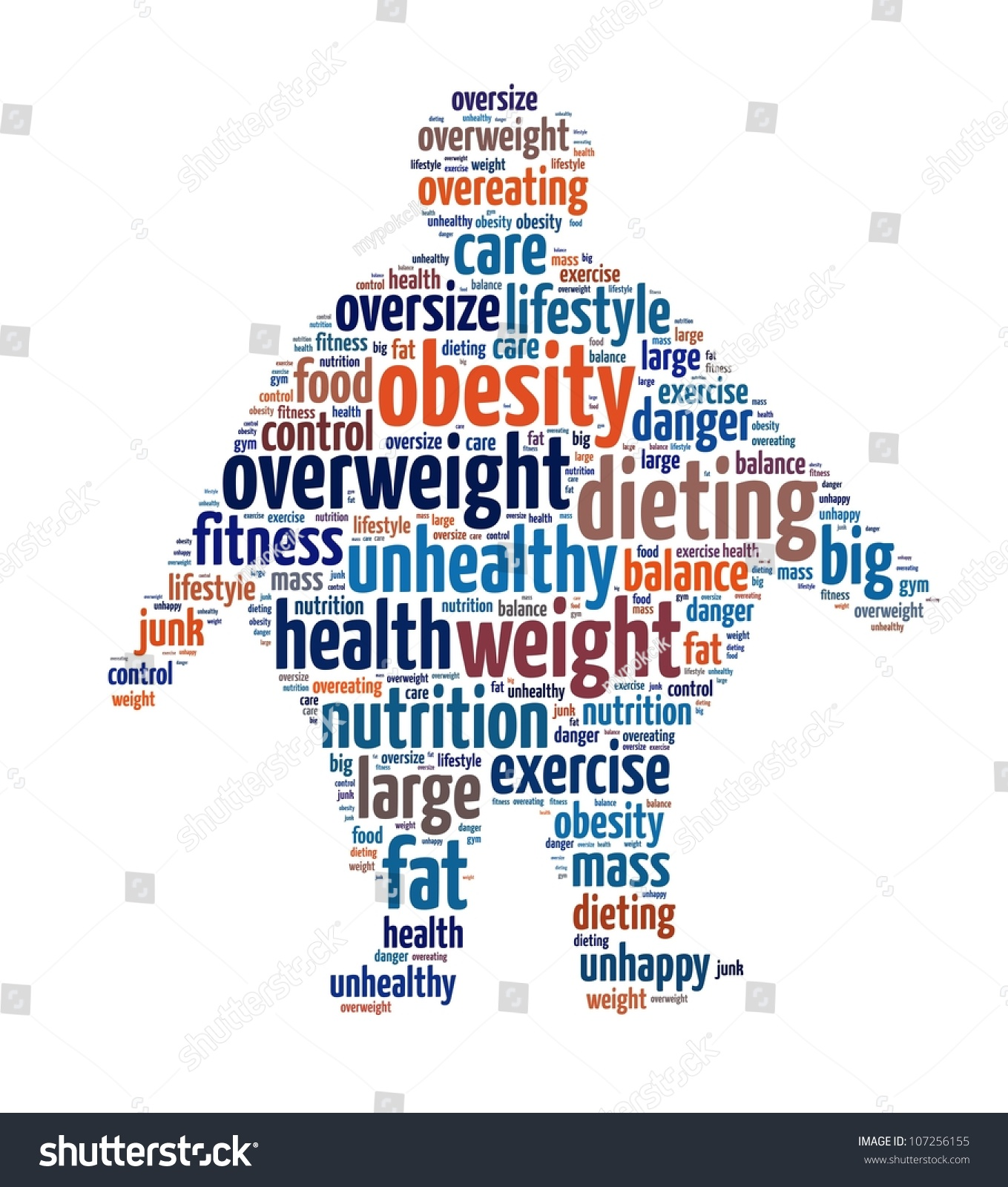 Obesity Word Collage Stock Illustration 107256155