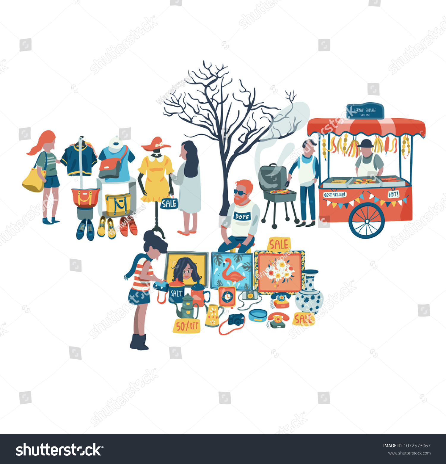 20395ec1017 People Shopping Selling Clothes Secondhand Stuffs Stock Vector ...