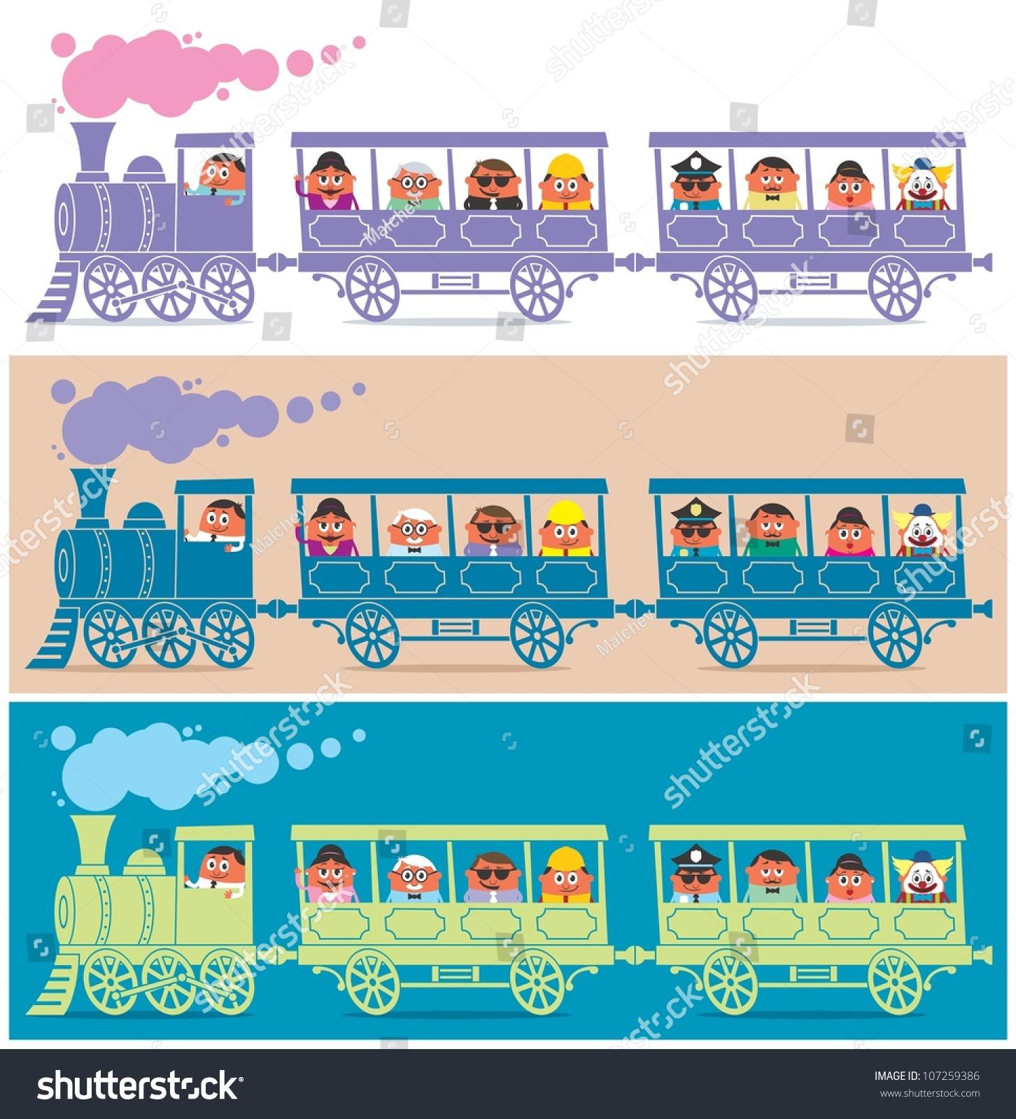 Blue Train Cartoon Stock Vector Steam Train Driver Steam Train Full