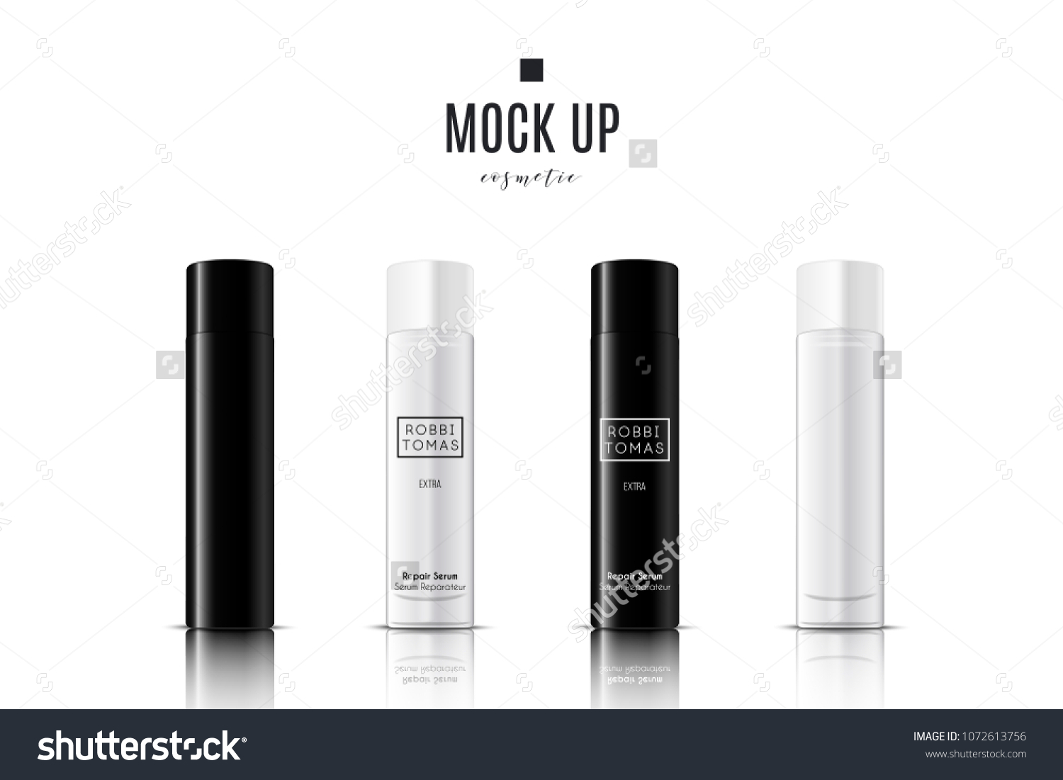 Realistic White Black Cosmetic Cream Container Stock Vector (Royalty