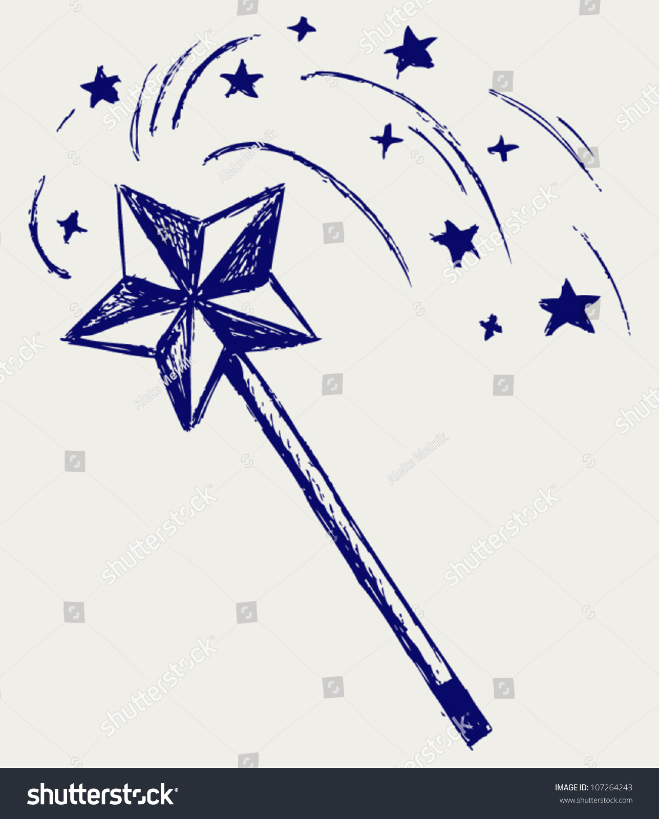 Magic Wand. Sketch Stock Vector Illustration 107264243 : Shutterstock