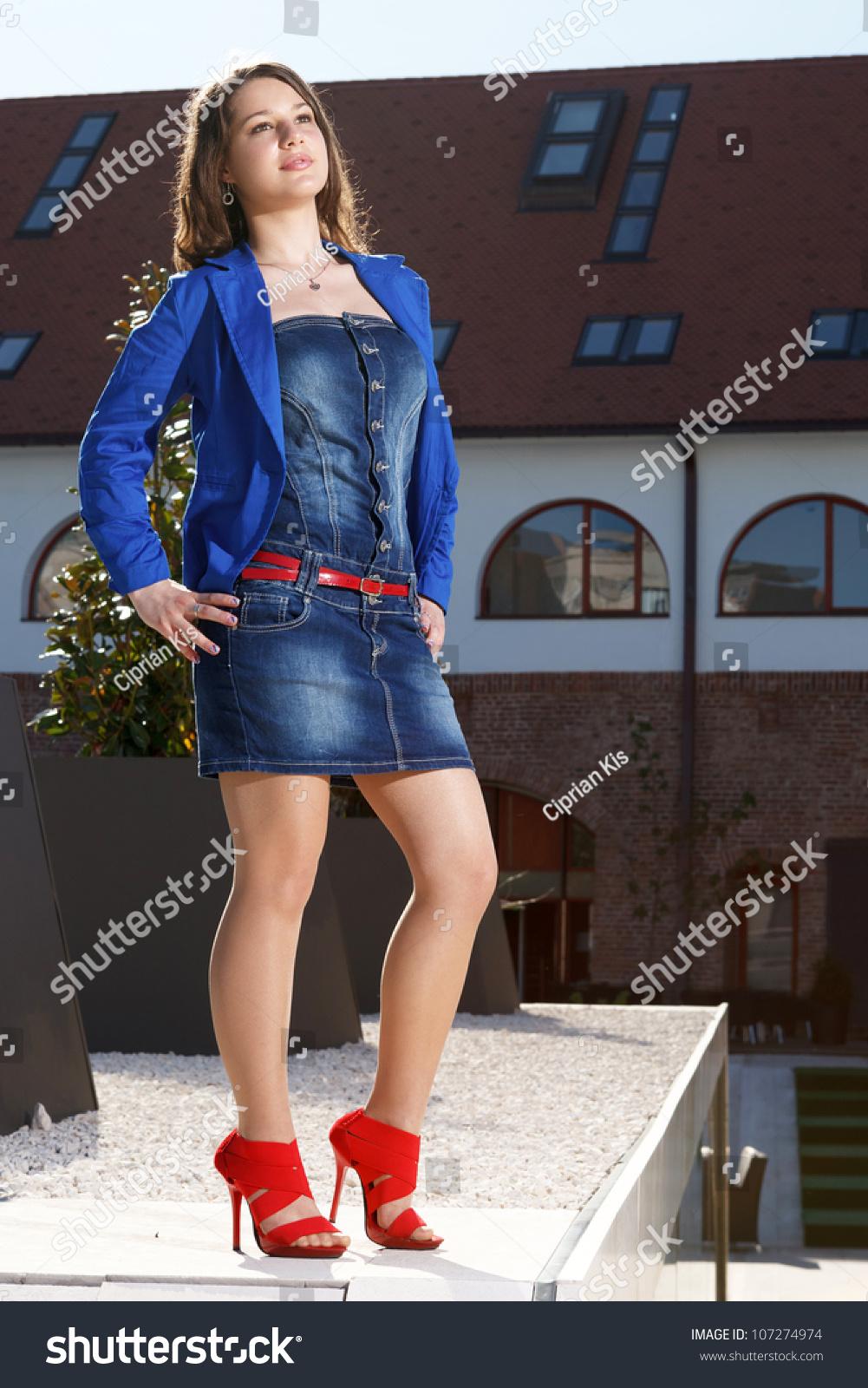 Handsome Girl Wearing Short Skirt Red Stock Photo 107274974 ...