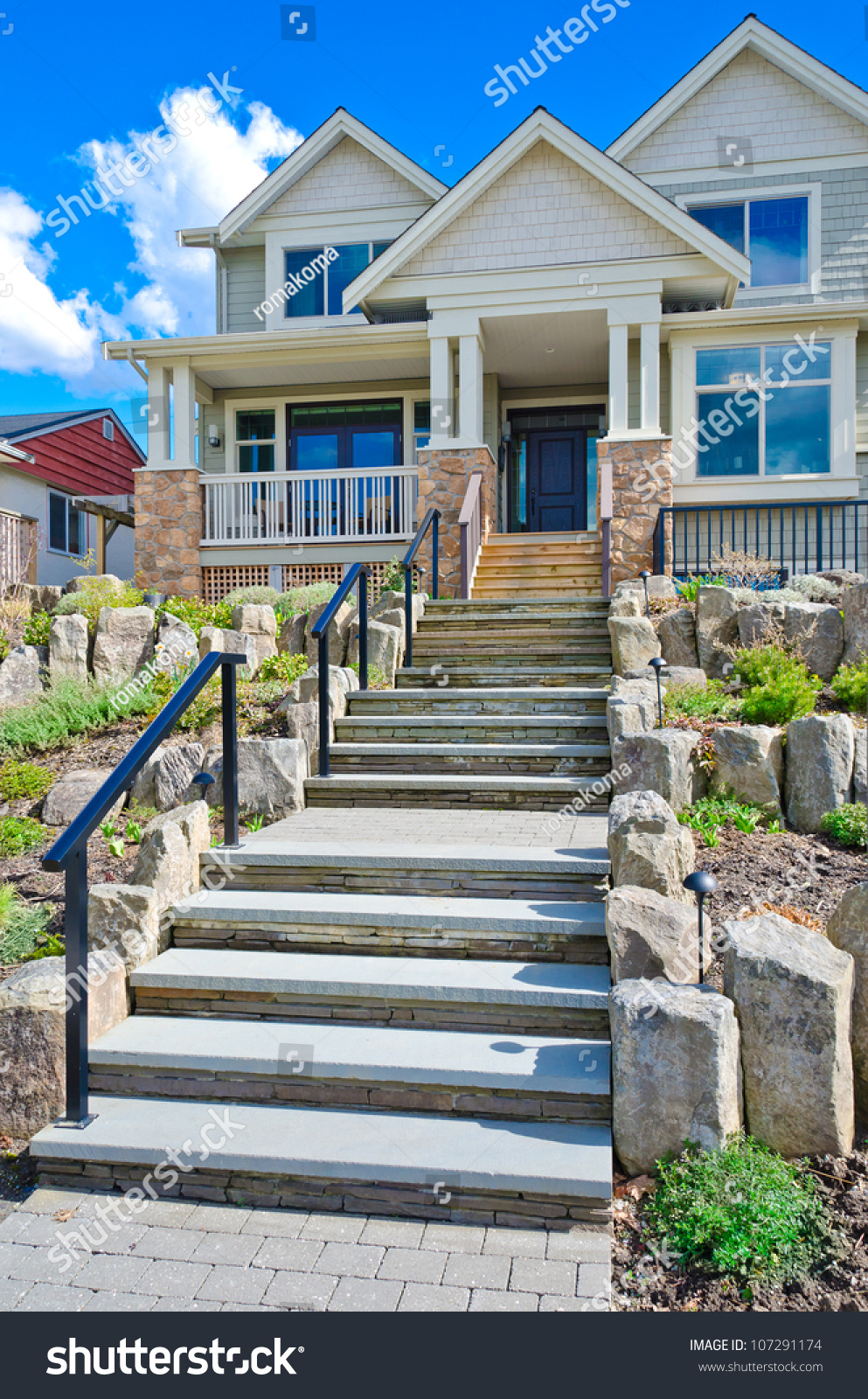 Nicely Decorated House Entrance Stone Steps Stock Photo 107291174 ...