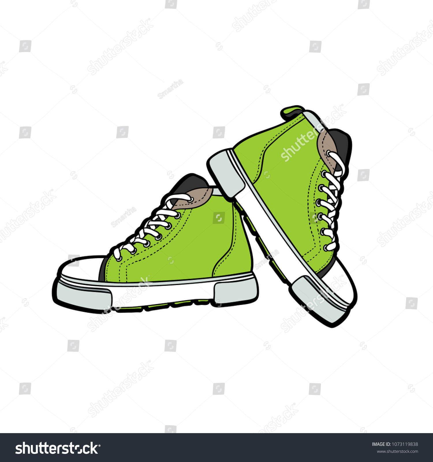 9b0e8b7956e7fb Sneakers converse shoes pair isolated. Hand drawn vector illustration of  green shoes. Sport boots hand drawn for logo