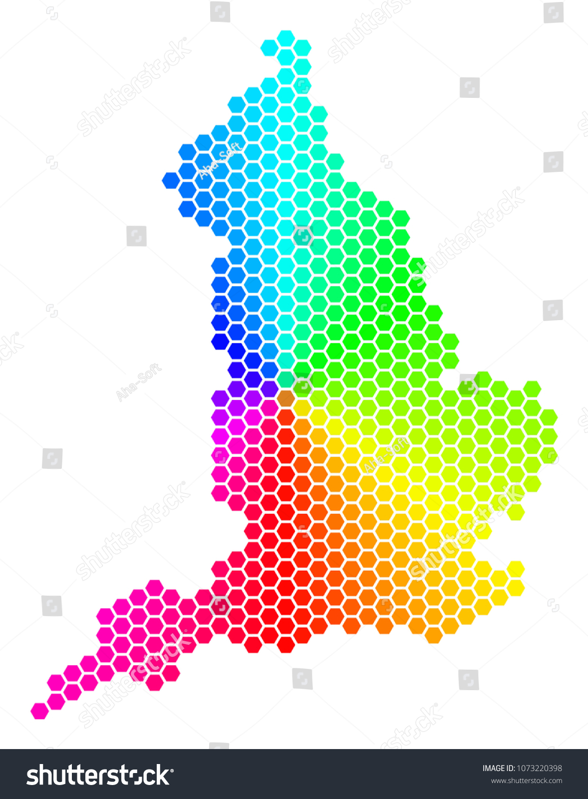 Geographic Map Of England.Hexagon Spectrum England Map Vector Geographic Stock Vector Royalty
