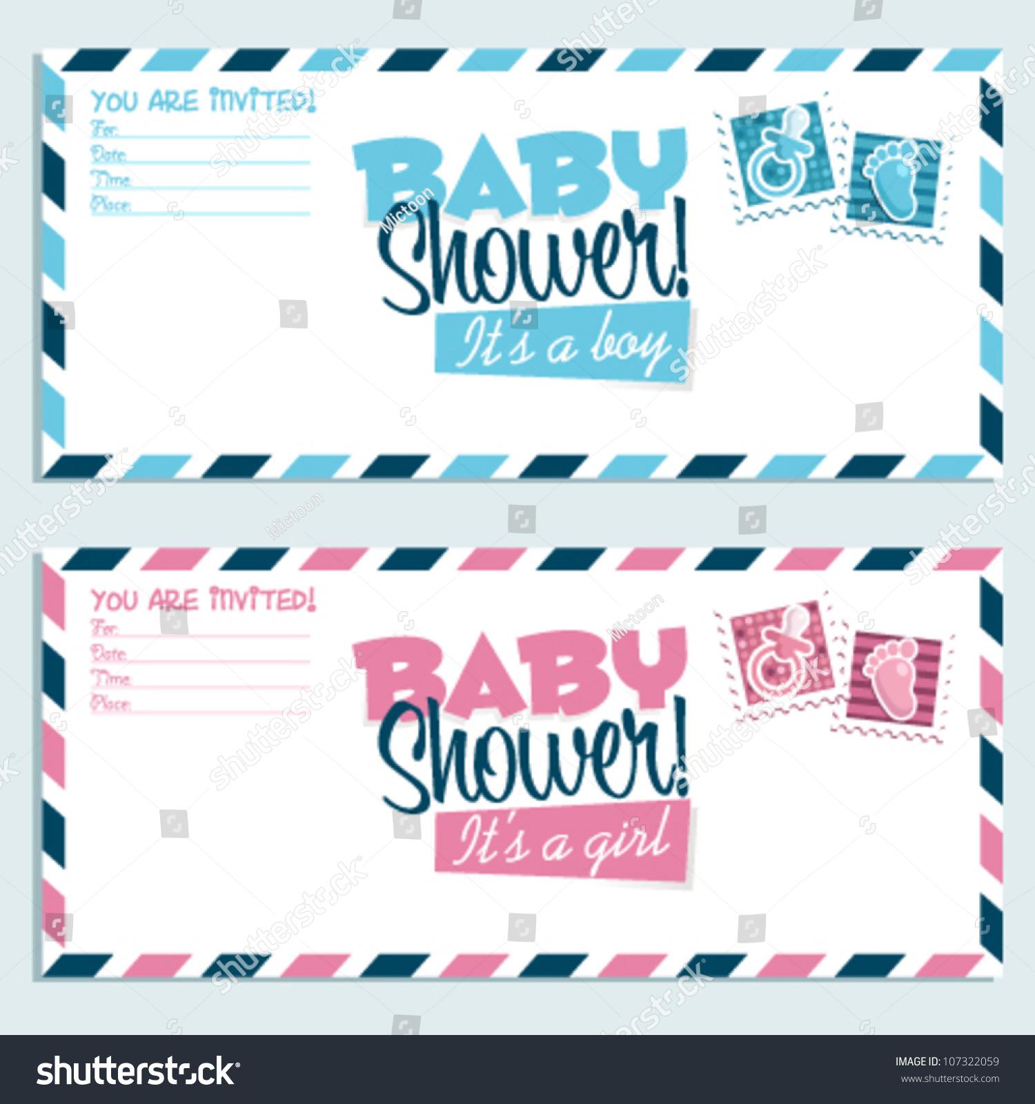 Baby Shower Invitation Envelope Stock Vector 107322059 - Shutterstock