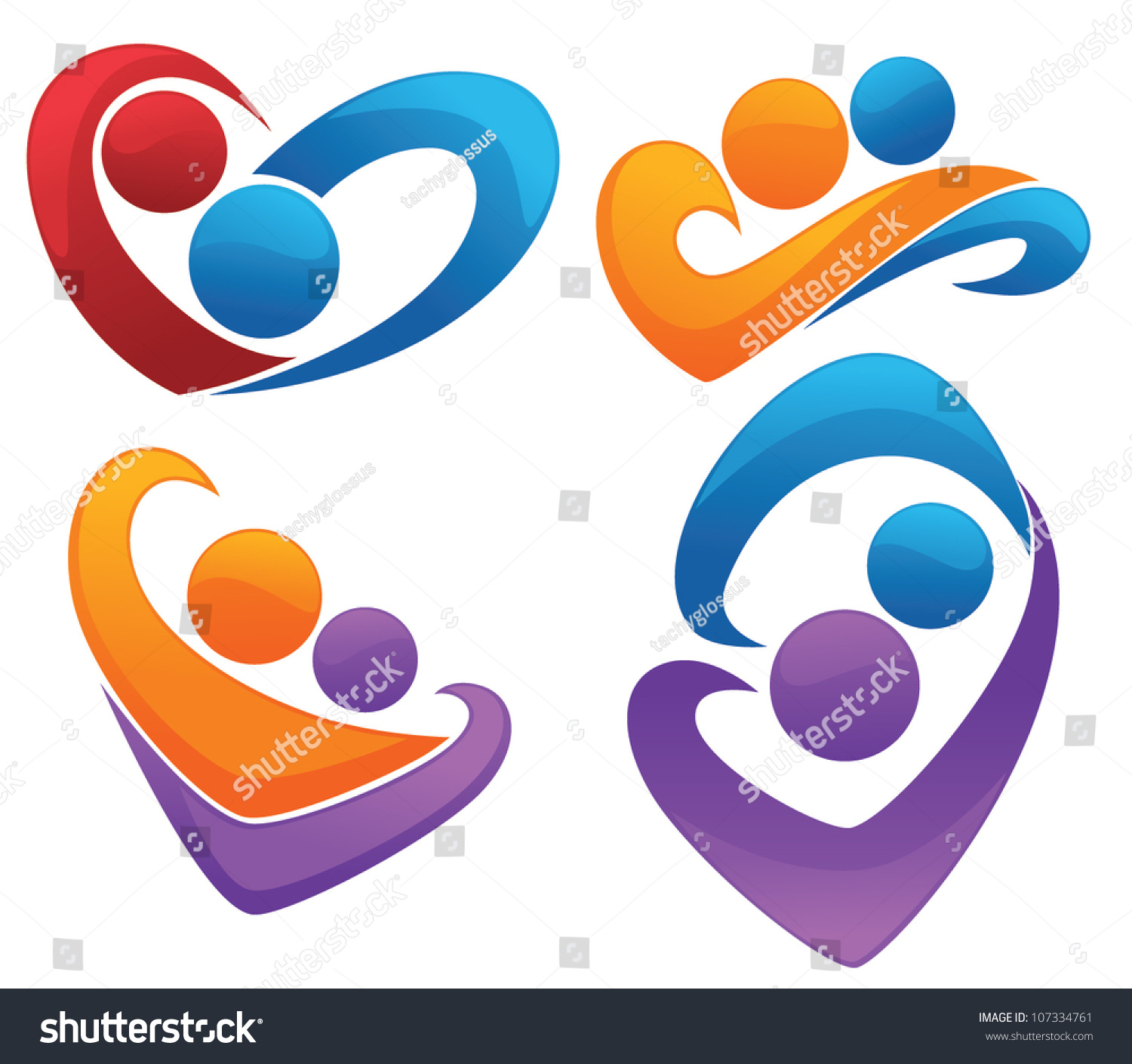 Symbols Love Vector Collection Signs Emblems Stock Vector Royalty