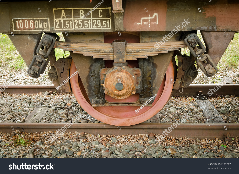 Old Rusty Freight Train Car Wheel Stock Photo 107336717