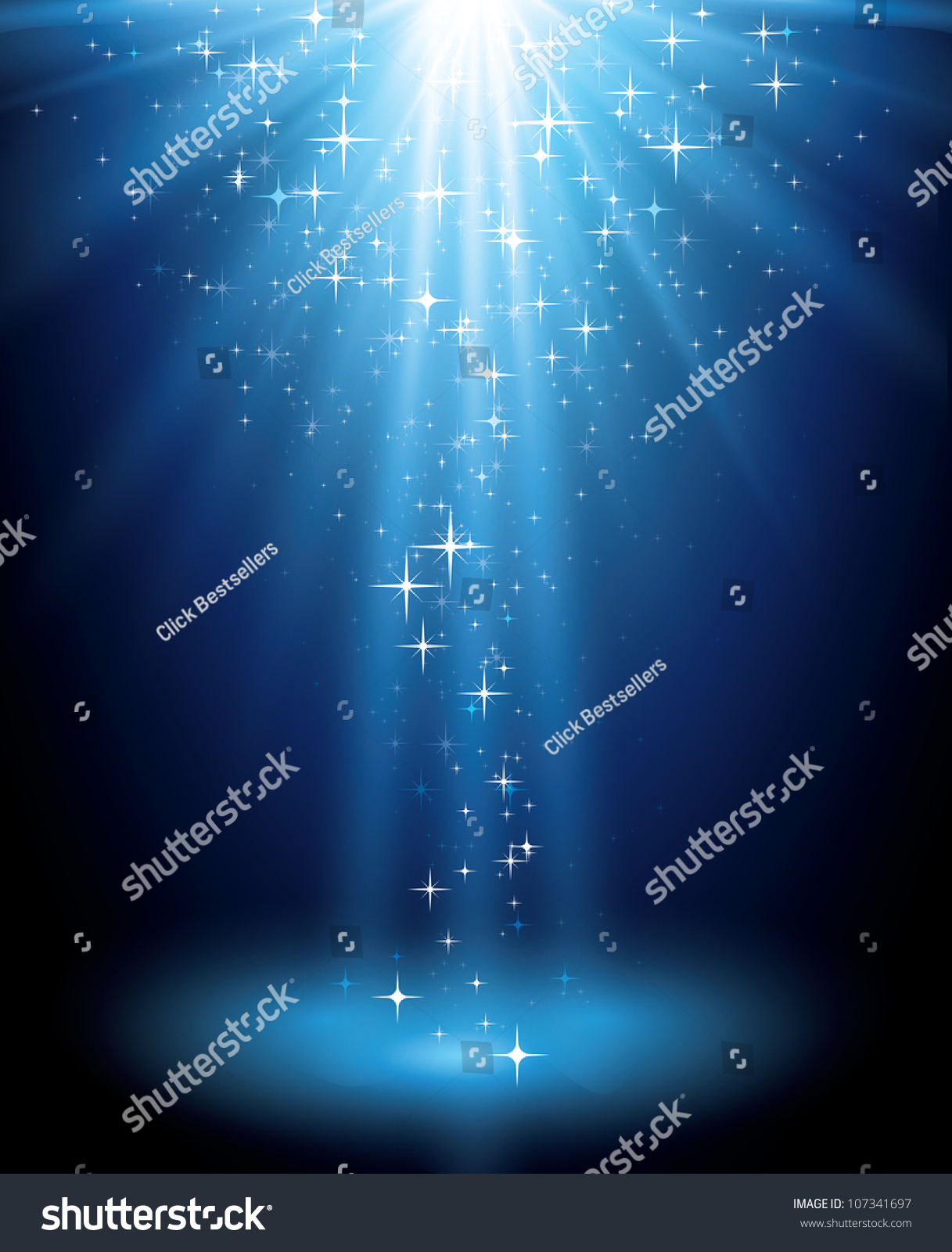 Abstract magic  light background. Blue holiday burst