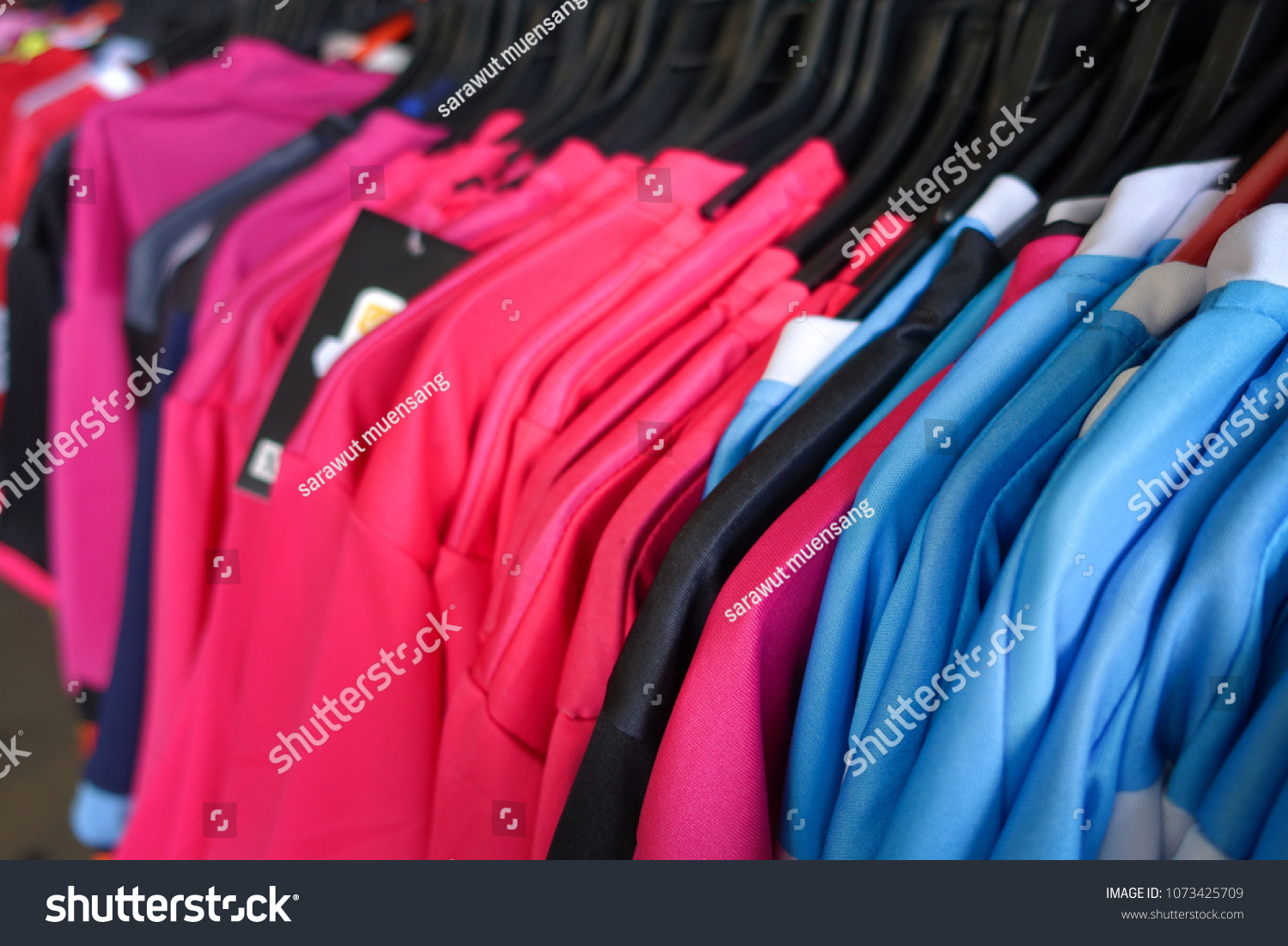 Fashion Clothes On Clothing Rack Bright Stock Photo Edit Now Wiring Closet Colorful Close Up Of Rainbow Color