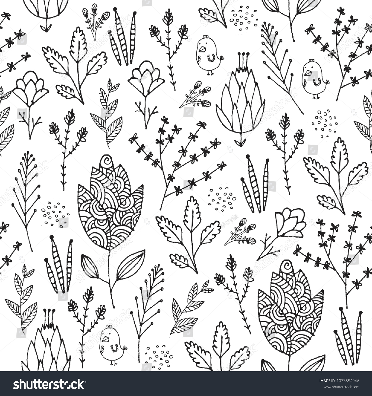 Vector Seamless Floral Pattern Black White Stock Vector Royalty