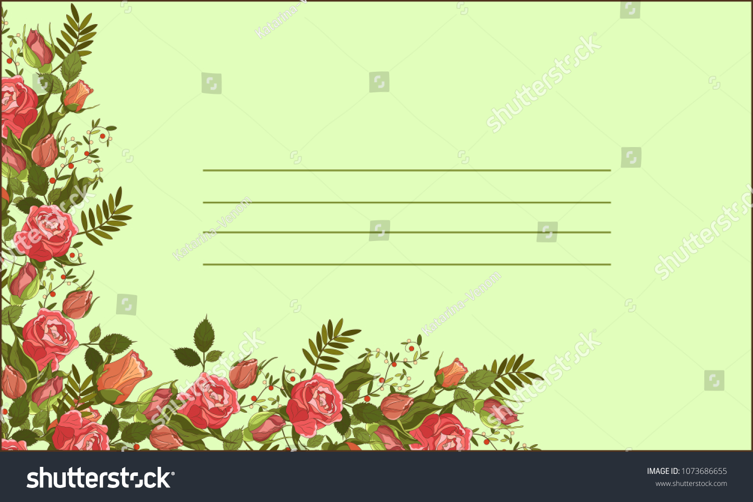 Roses Letter Vector Frame Wedding Cards Stock Vector Royalty Free