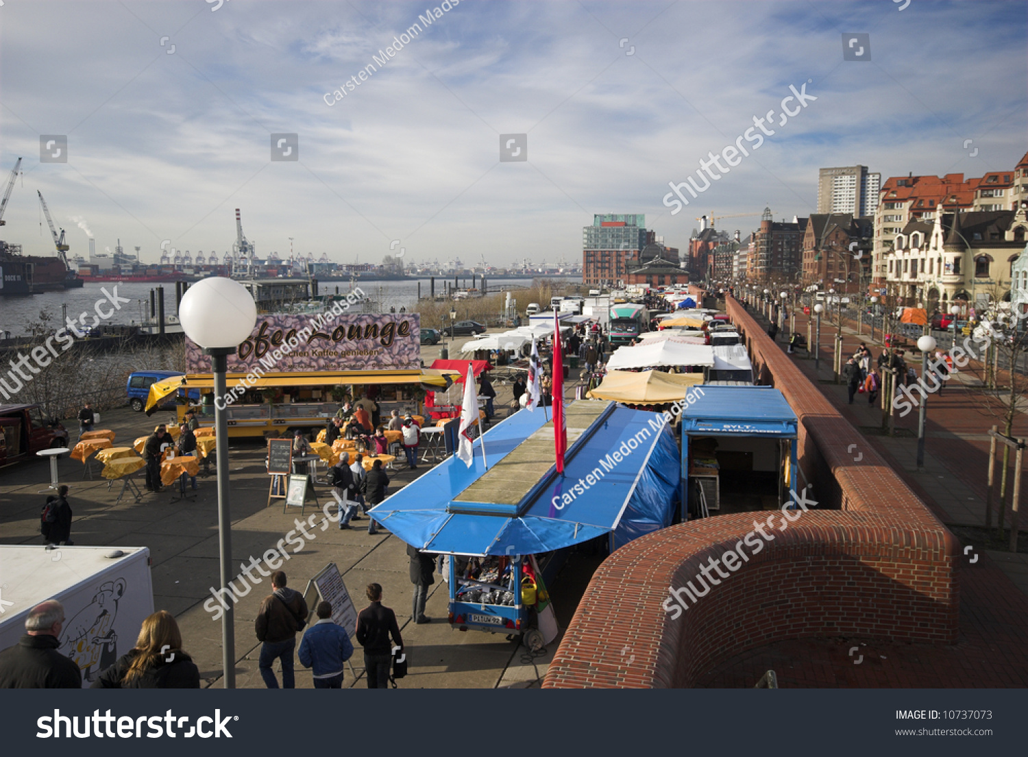 Stock photo hamburg germany riverside new - Old Fish Market By The Harbor In Hamburg Germany Every Sunday From 5